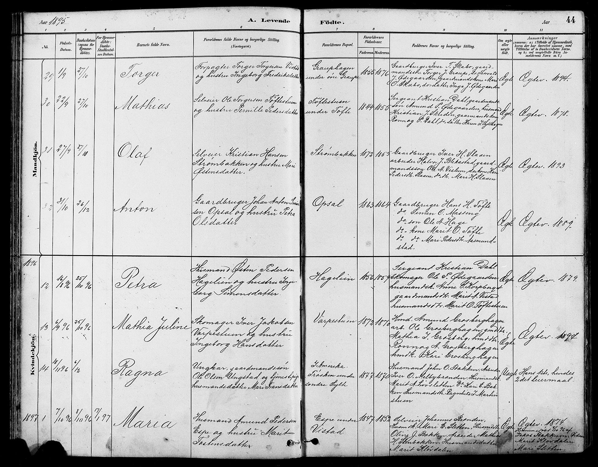 SAH, Nord-Fron prestekontor, Klokkerbok nr. 5, 1884-1914, s. 44