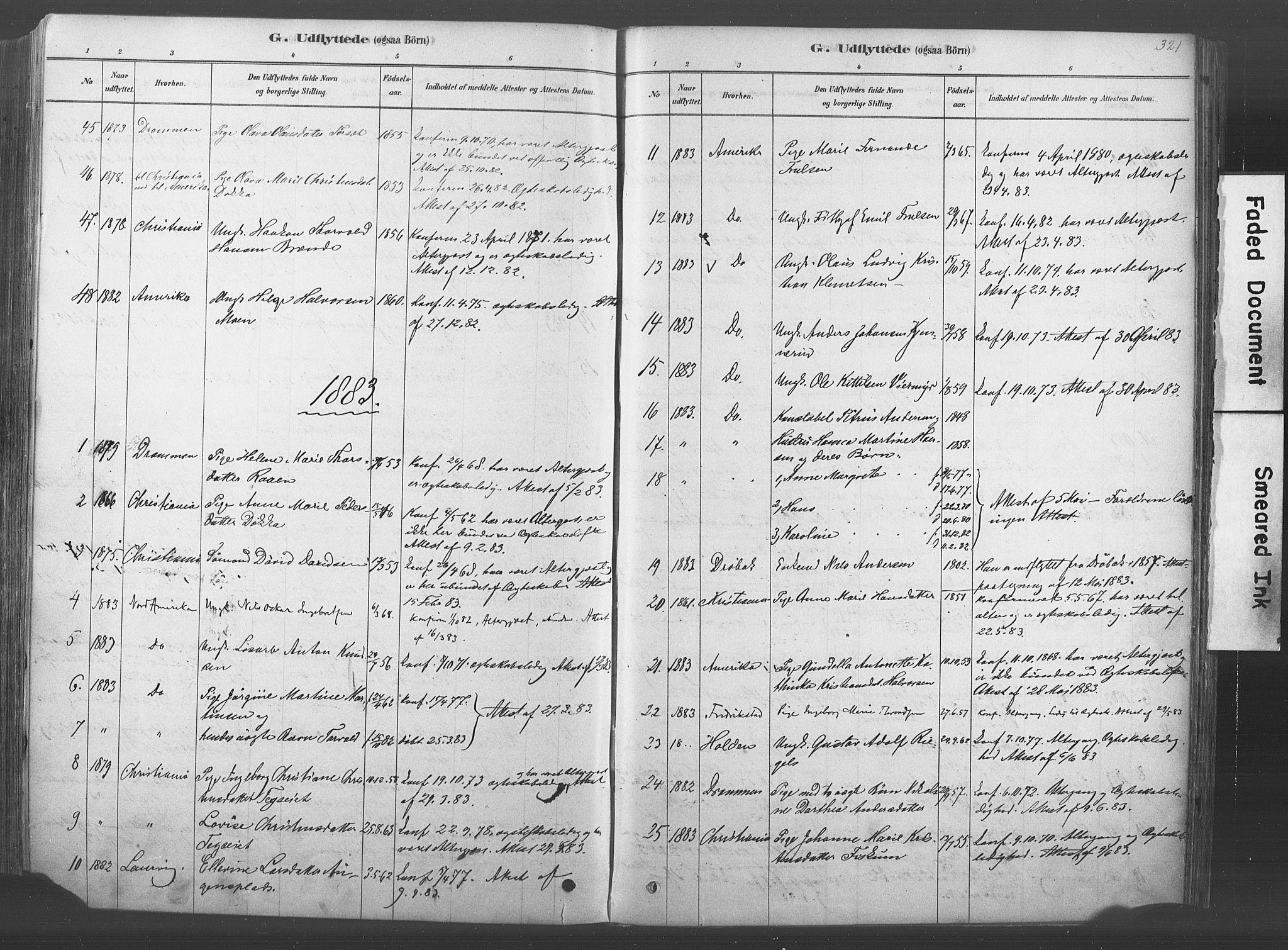 SAKO, Kongsberg kirkebøker, F/Fb/L0001: Ministerialbok nr. II 1, 1878-1886, s. 321
