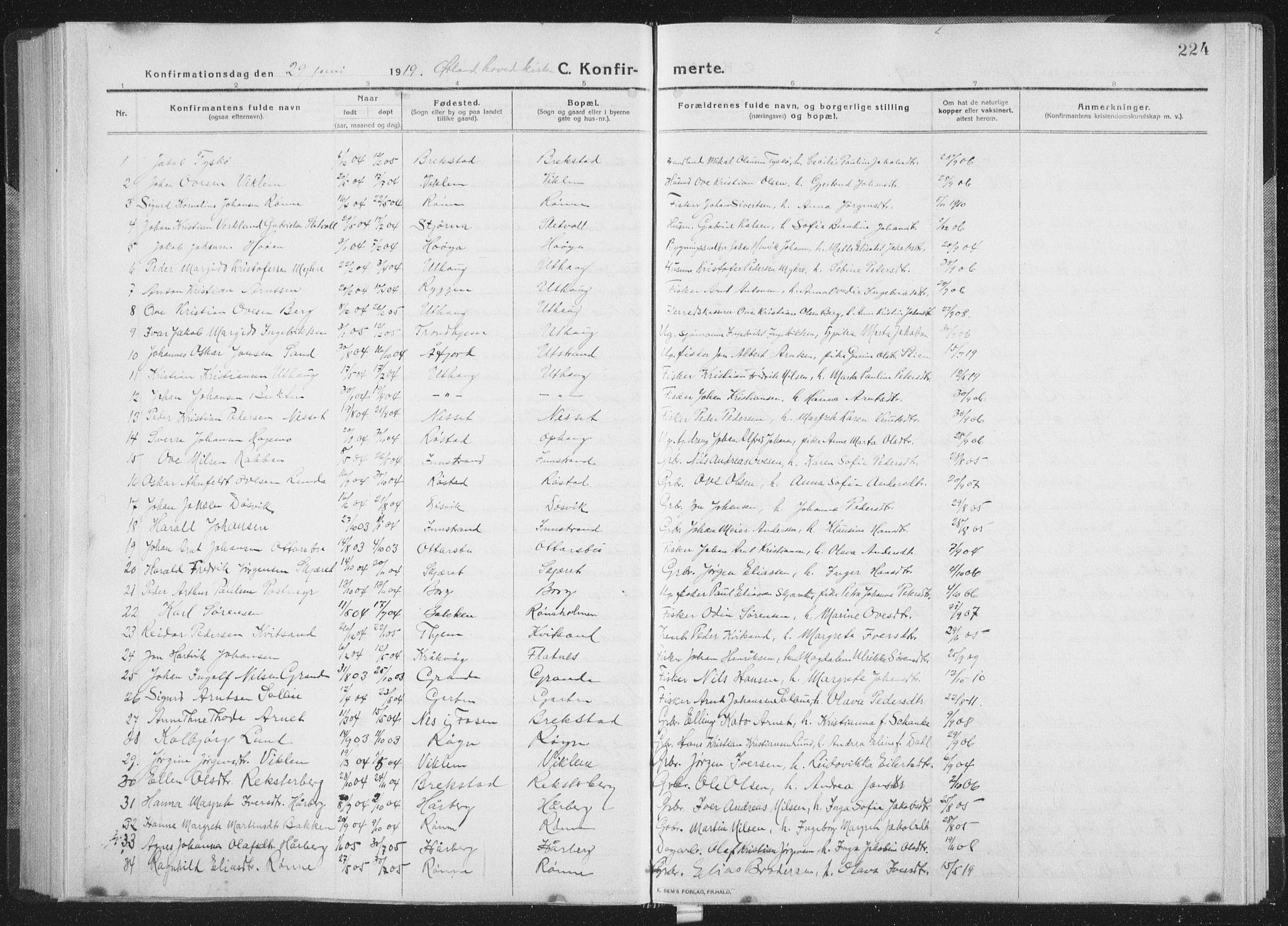 SAT, Ministerialprotokoller, klokkerbøker og fødselsregistre - Sør-Trøndelag, 659/L0747: Klokkerbok nr. 659C04, 1913-1938, s. 224