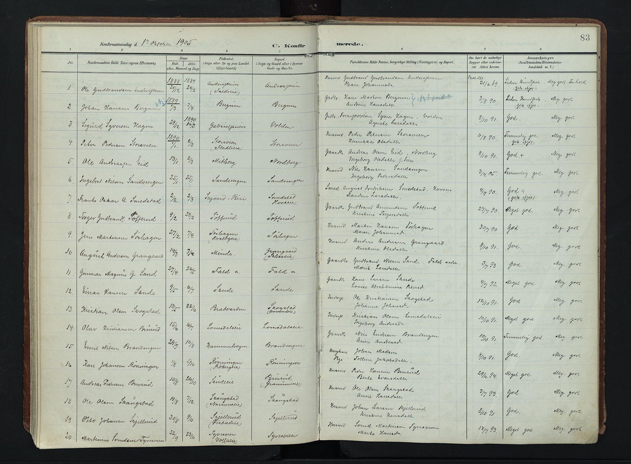 SAH, Søndre Land prestekontor, K/L0007: Ministerialbok nr. 7, 1905-1914, s. 83