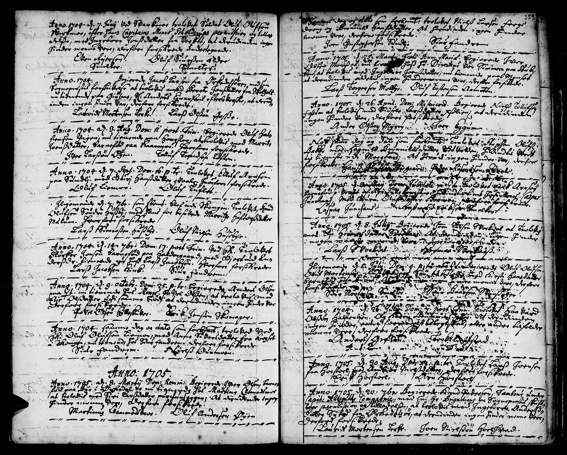 SAT, Ministerialprotokoller, klokkerbøker og fødselsregistre - Sør-Trøndelag, 668/L0801: Ministerialbok nr. 668A01, 1695-1716, s. 358-359