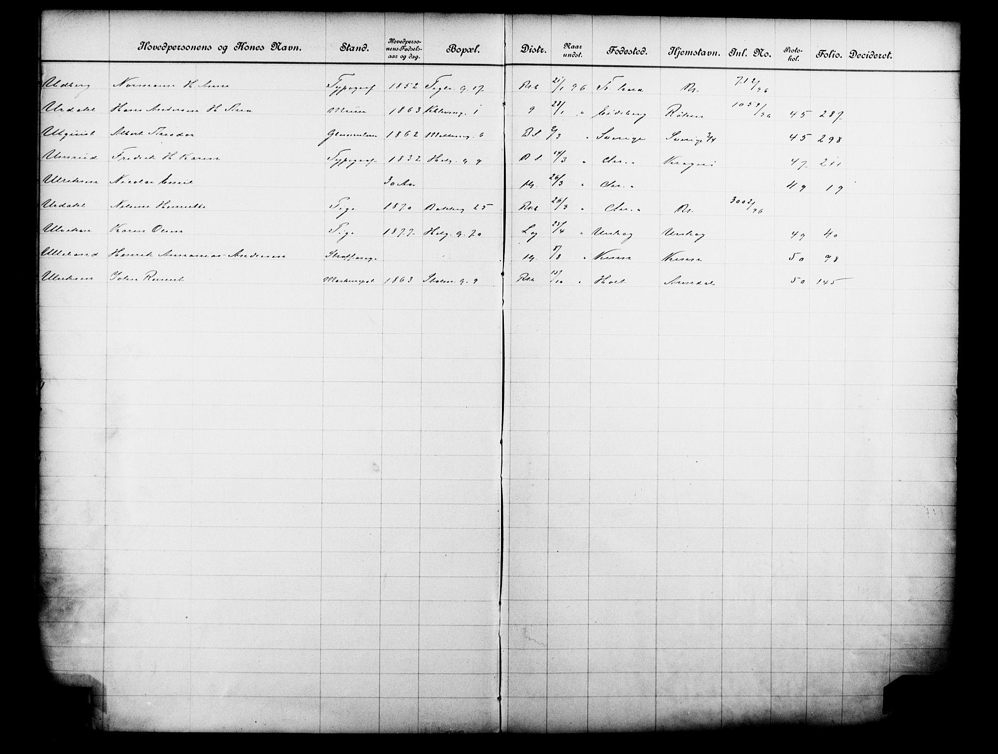 OBA, Fattigvesenet, Fb/L0016: Hjemstavnsregister, 1896, s. 175