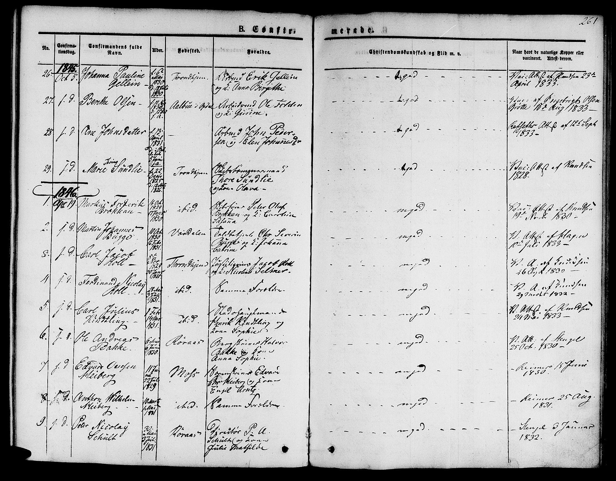 SAT, Ministerialprotokoller, klokkerbøker og fødselsregistre - Sør-Trøndelag, 601/L0048: Ministerialbok nr. 601A16, 1840-1847, s. 261