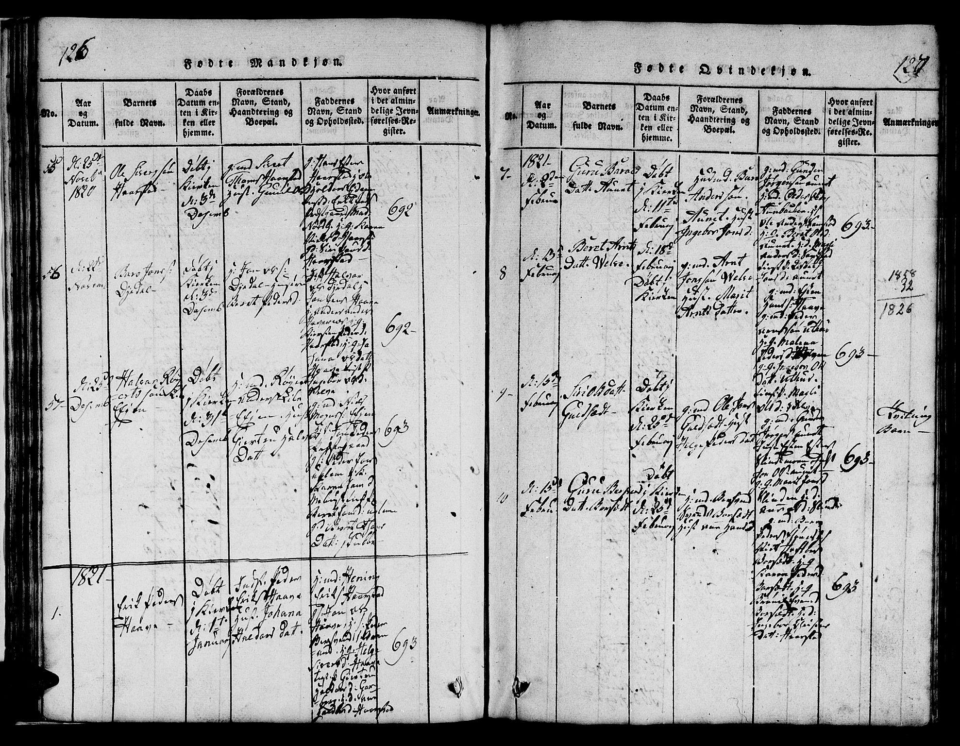 SAT, Ministerialprotokoller, klokkerbøker og fødselsregistre - Sør-Trøndelag, 695/L1152: Klokkerbok nr. 695C03, 1816-1831, s. 126-127