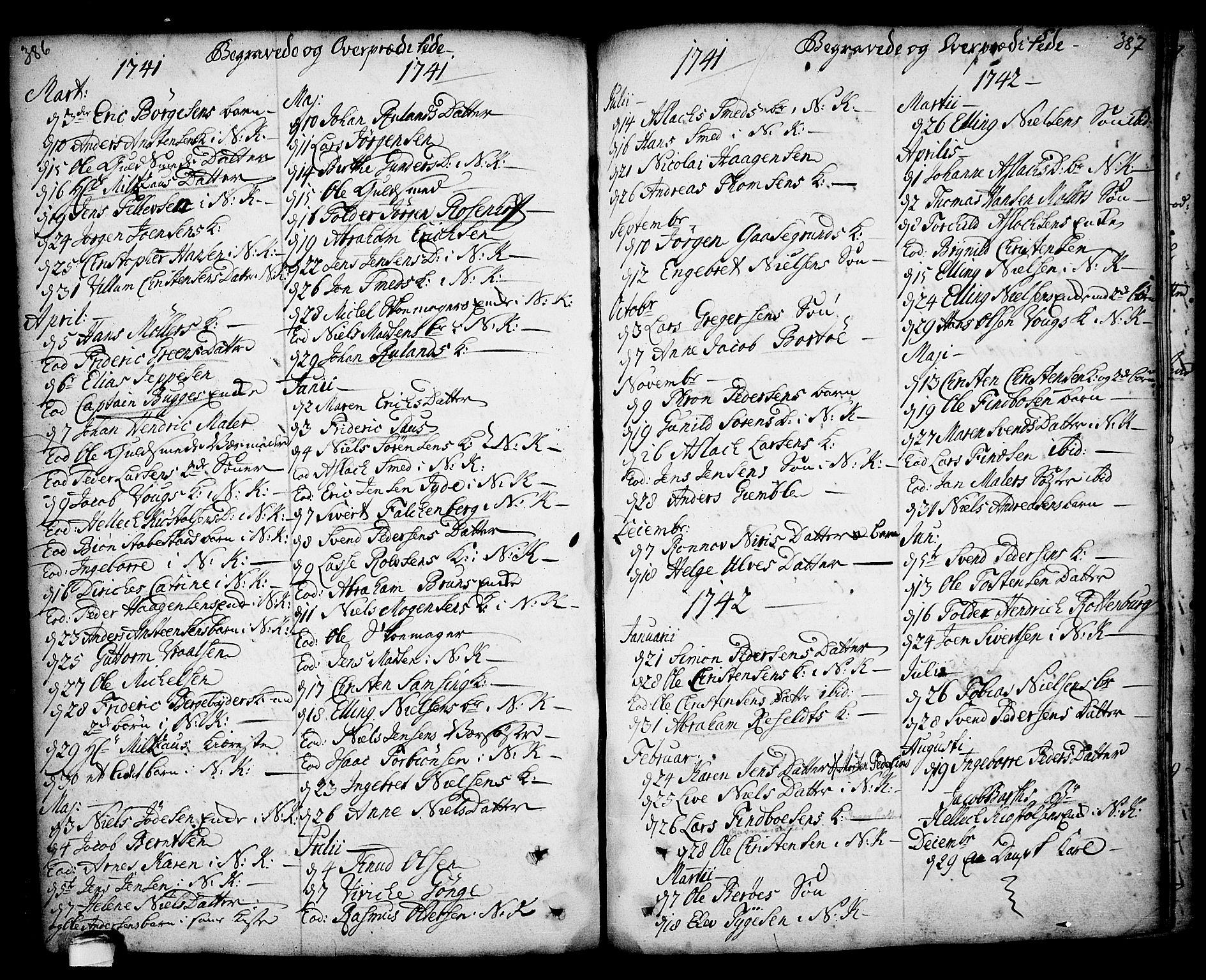 SAKO, Kragerø kirkebøker, F/Fa/L0001: Ministerialbok nr. 1, 1702-1766, s. 386-387