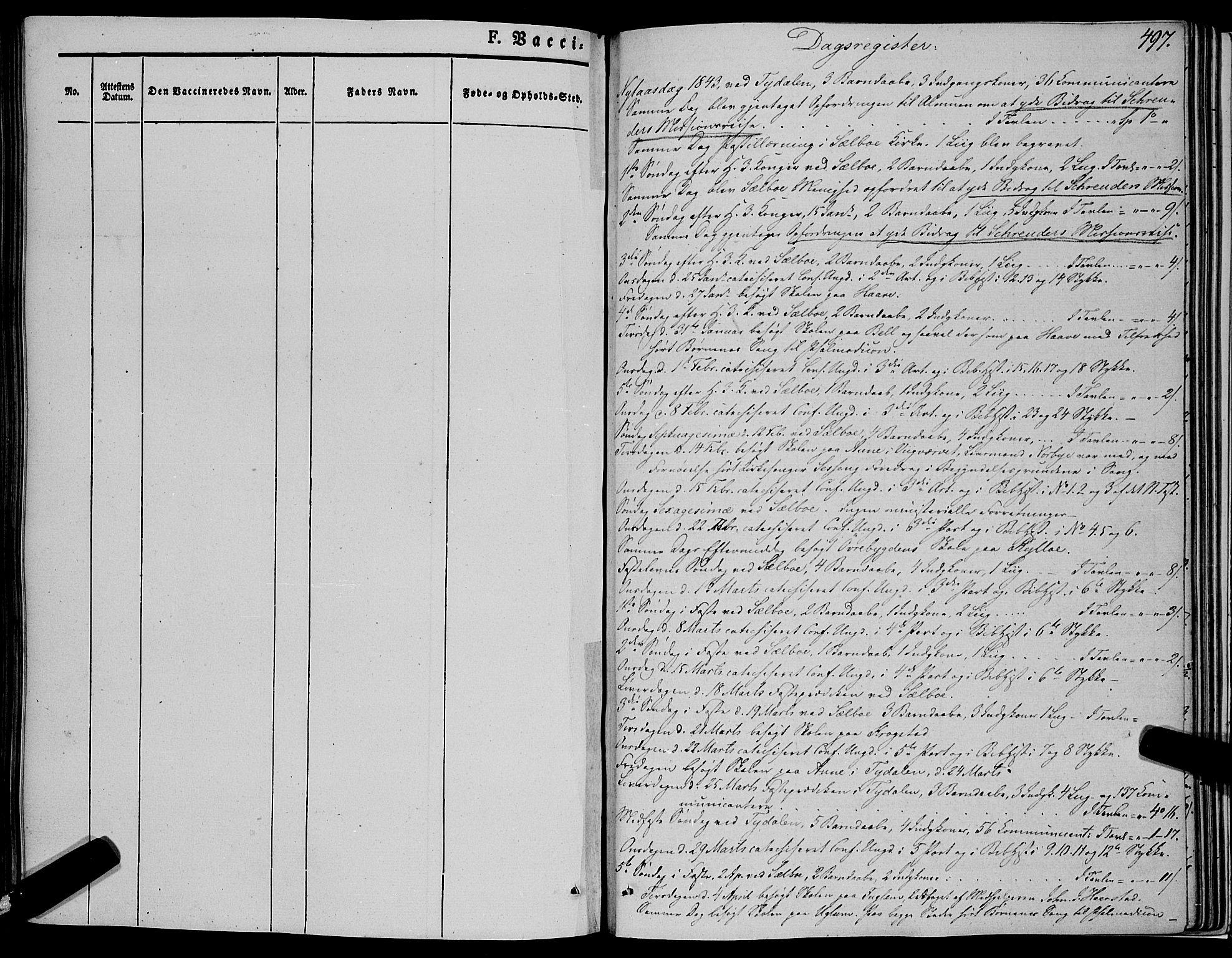 SAT, Ministerialprotokoller, klokkerbøker og fødselsregistre - Sør-Trøndelag, 695/L1145: Ministerialbok nr. 695A06 /1, 1843-1859, s. 497