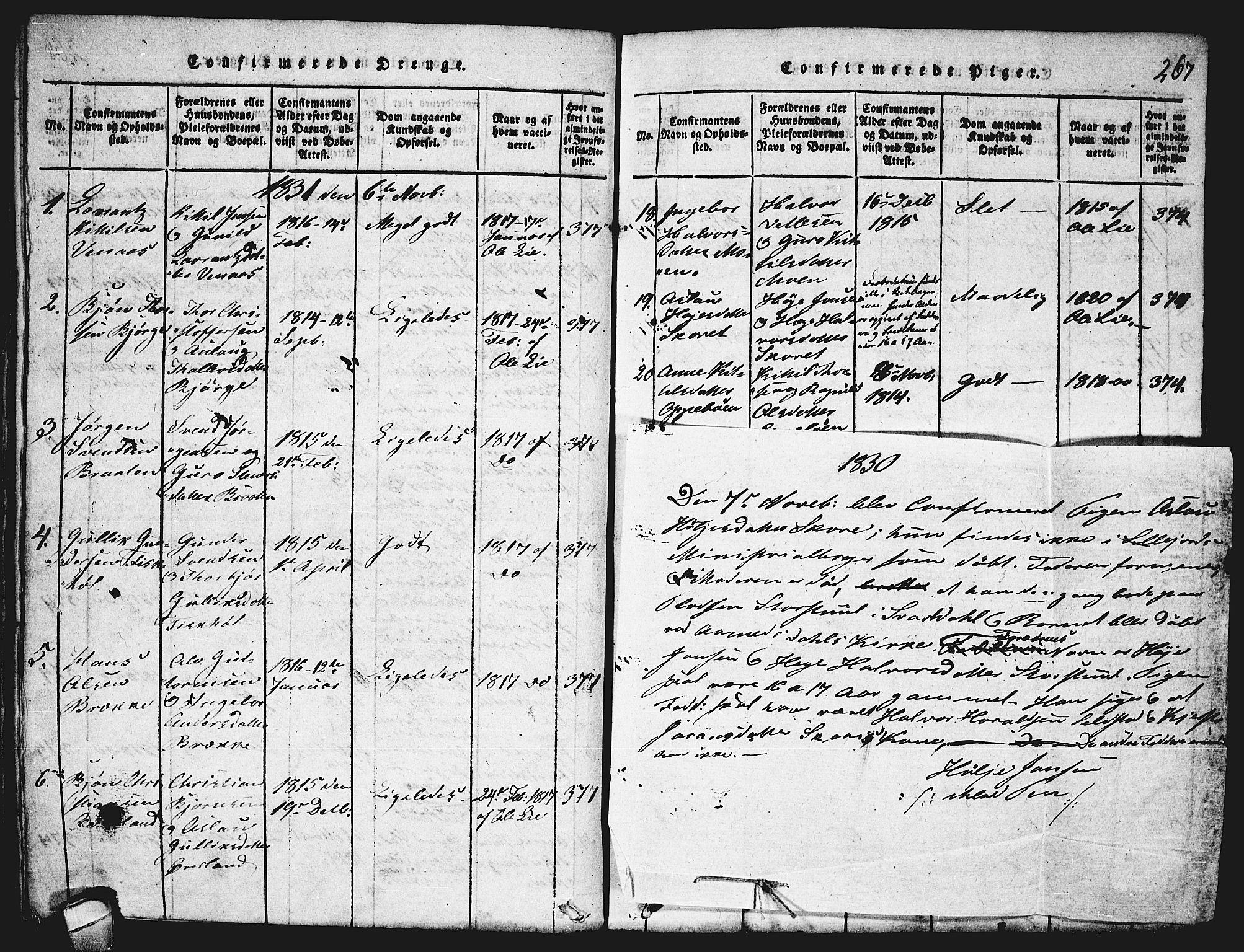 SAKO, Seljord kirkebøker, F/Fa/L0010: Ministerialbok nr. I 10, 1815-1831, s. 267