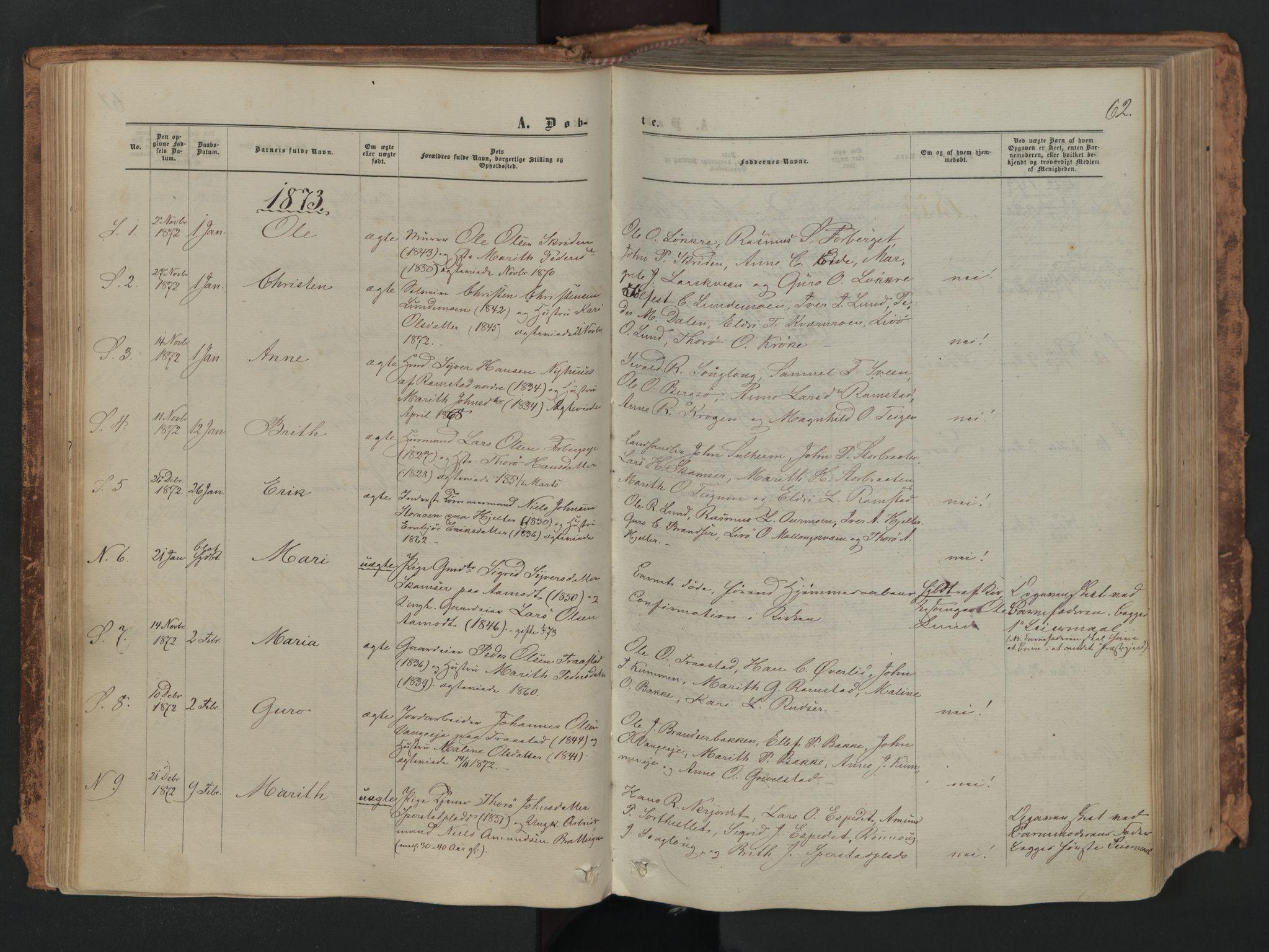 SAH, Skjåk prestekontor, Ministerialbok nr. 1, 1863-1879, s. 62