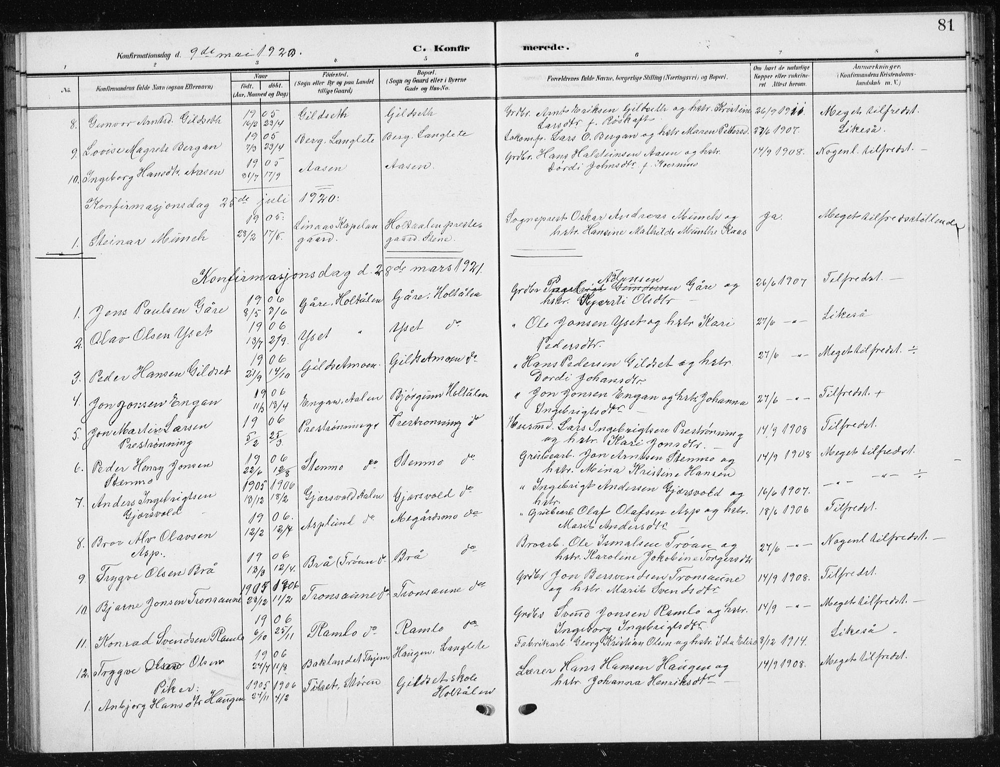 SAT, Ministerialprotokoller, klokkerbøker og fødselsregistre - Sør-Trøndelag, 685/L0979: Klokkerbok nr. 685C04, 1908-1933, s. 81