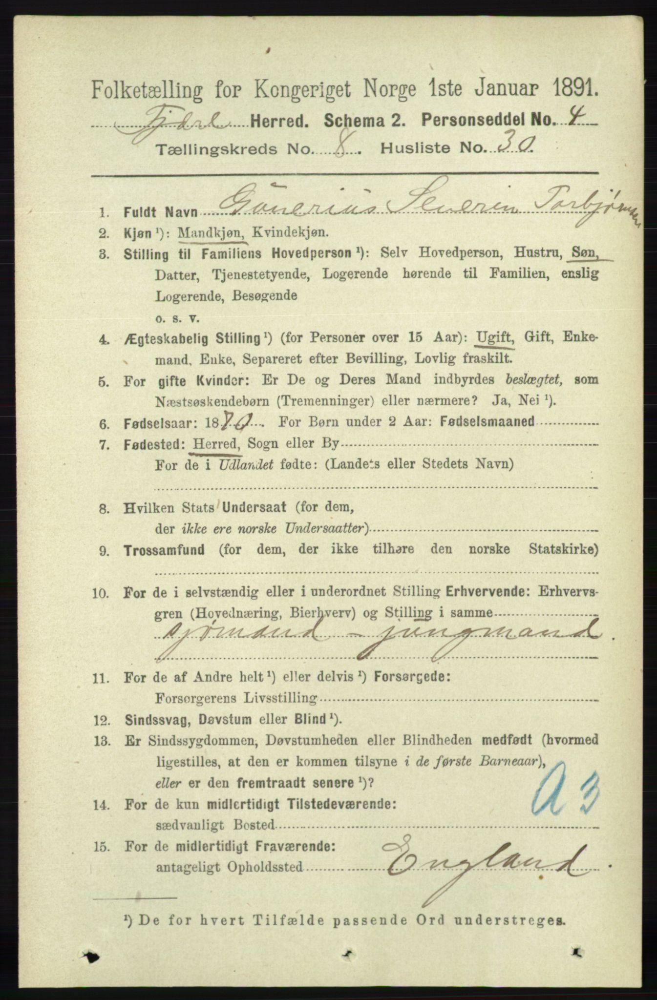 RA, Folketelling 1891 for 0923 Fjære herred, 1891, s. 3906