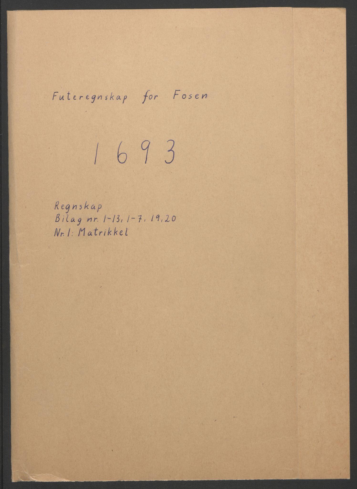 RA, Rentekammeret inntil 1814, Reviderte regnskaper, Fogderegnskap, R57/L3849: Fogderegnskap Fosen, 1692-1693, s. 370