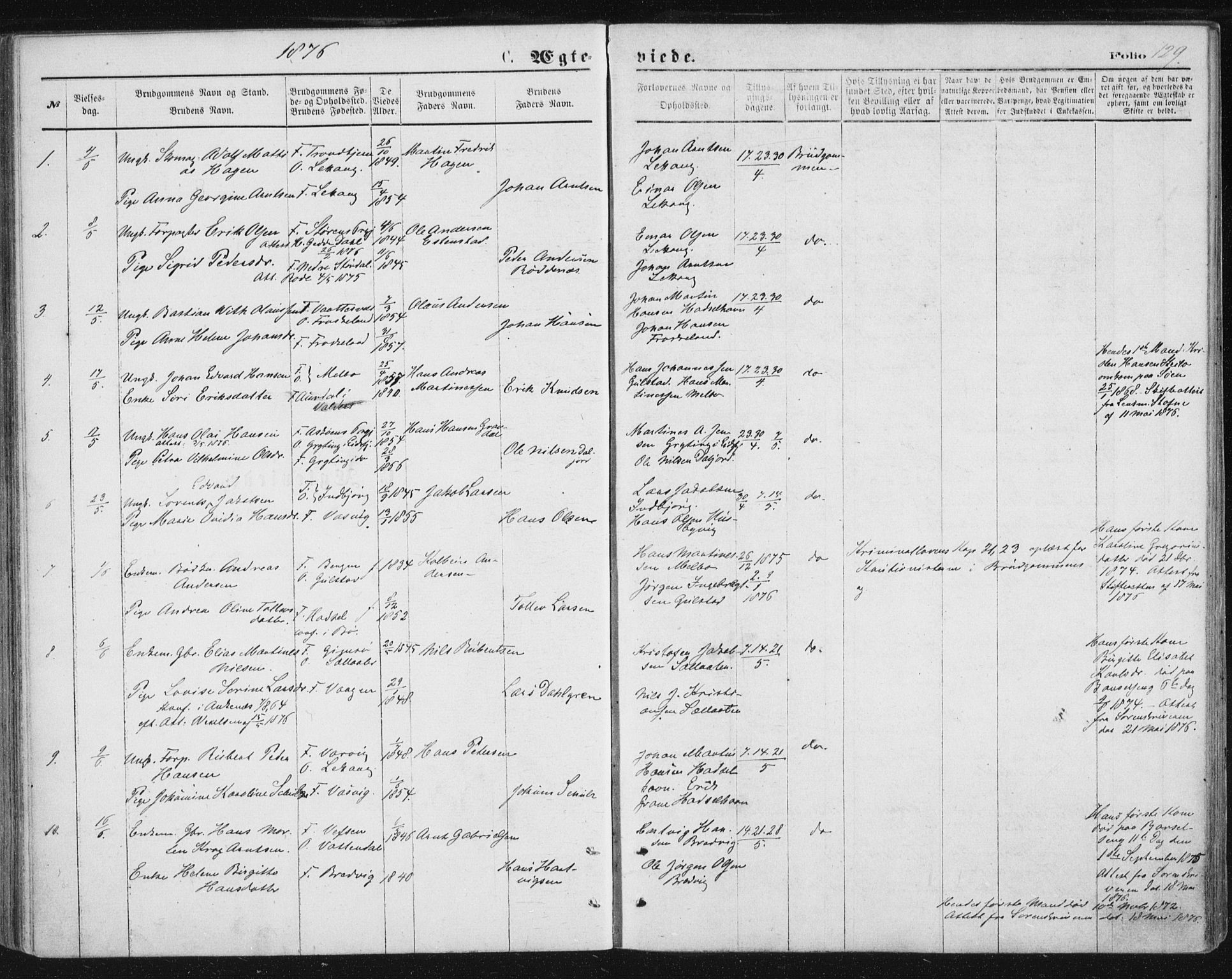 SAT, Ministerialprotokoller, klokkerbøker og fødselsregistre - Nordland, 888/L1243: Ministerialbok nr. 888A09, 1876-1879, s. 129
