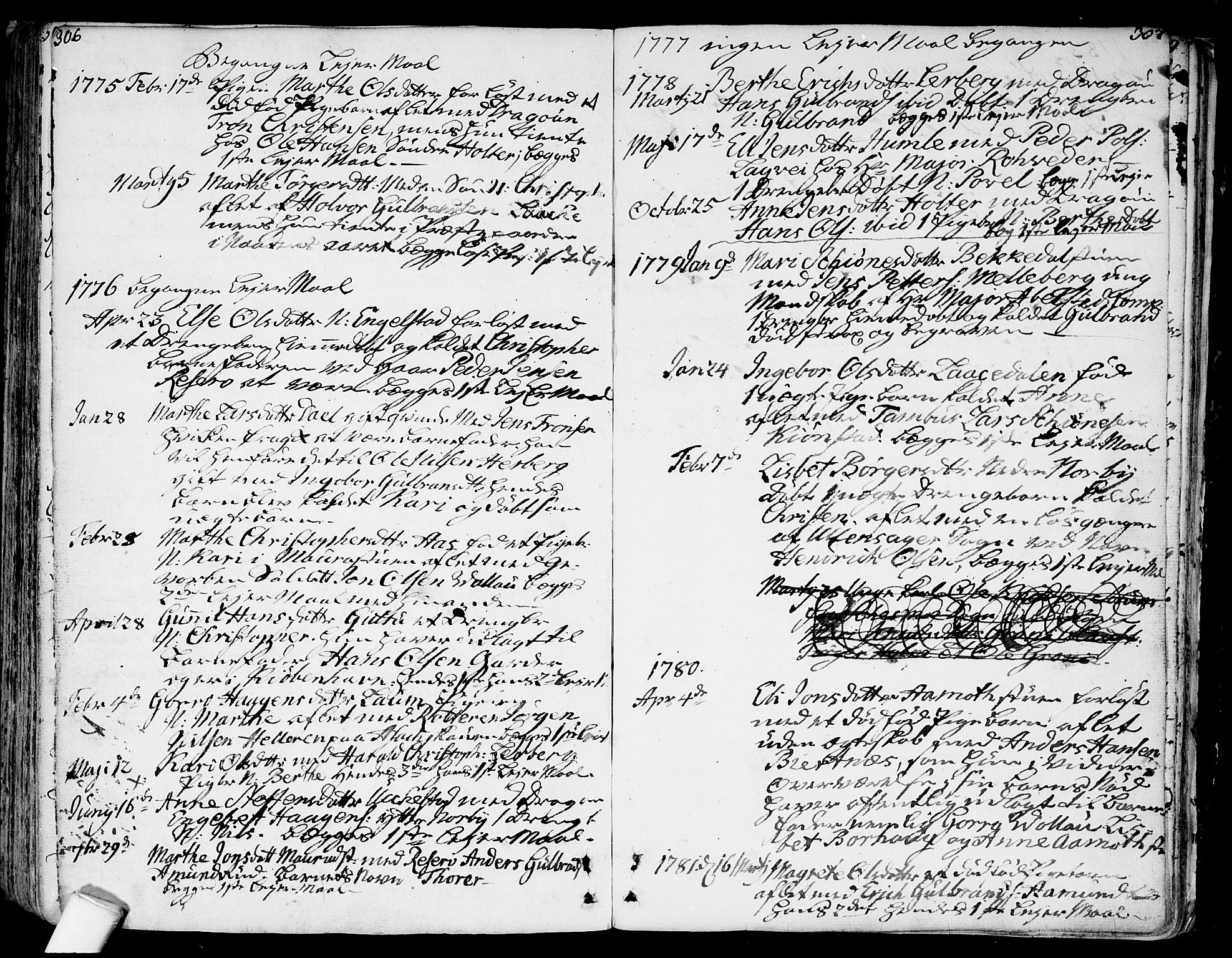 SAO, Nannestad prestekontor Kirkebøker, F/Fa/L0007: Ministerialbok nr. I 7, 1754-1791, s. 306-307