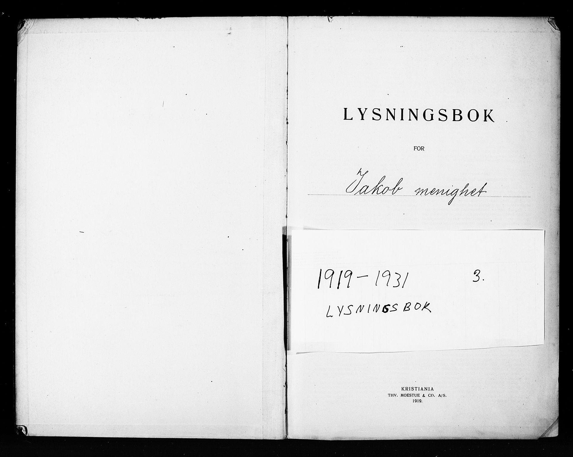 SAO, Jakob prestekontor Kirkebøker, H/Ha/L0003: Lysningsprotokoll nr. 3, 1919-1931