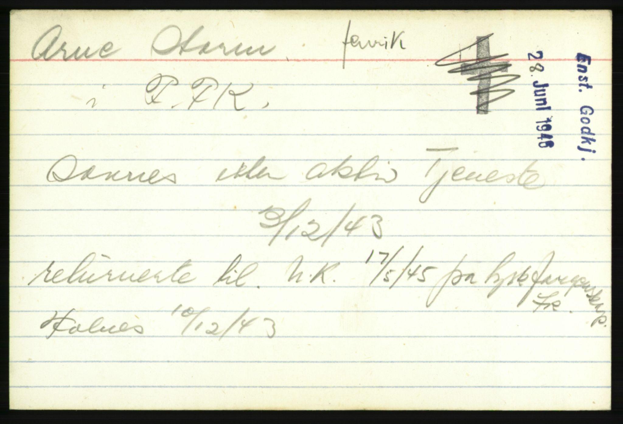 NHM, Forsvarets Overkommando. 2. kontor. Arkiv 8.1. Mottakersentralen FDE og FO.II, P/Pa/L0019: Kortsamling, 1940-1945