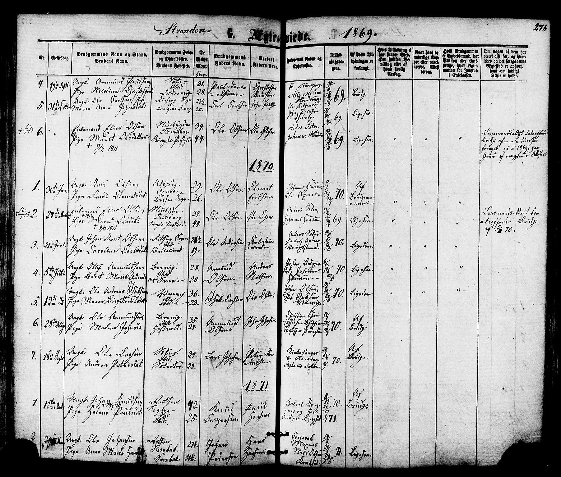 SAT, Ministerialprotokoller, klokkerbøker og fødselsregistre - Nord-Trøndelag, 701/L0009: Ministerialbok nr. 701A09 /2, 1864-1882, s. 276