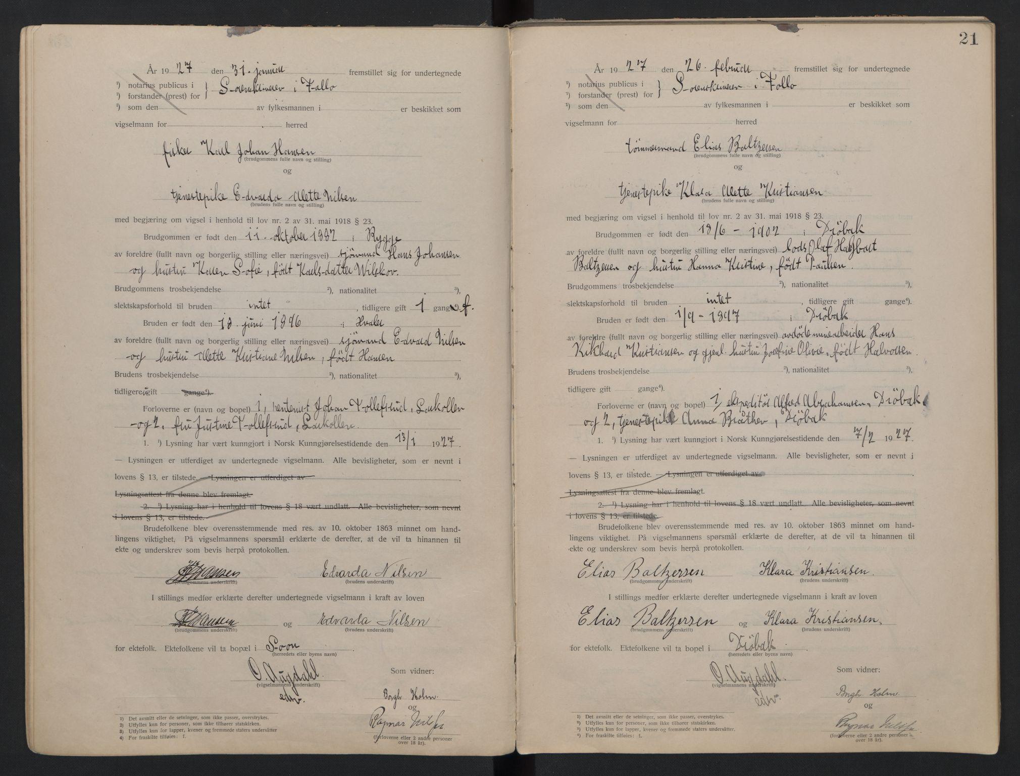 SAO, Follo sorenskriveri, L/La/Lab/L0001: Vigselsbok, 1920-1942, s. 21