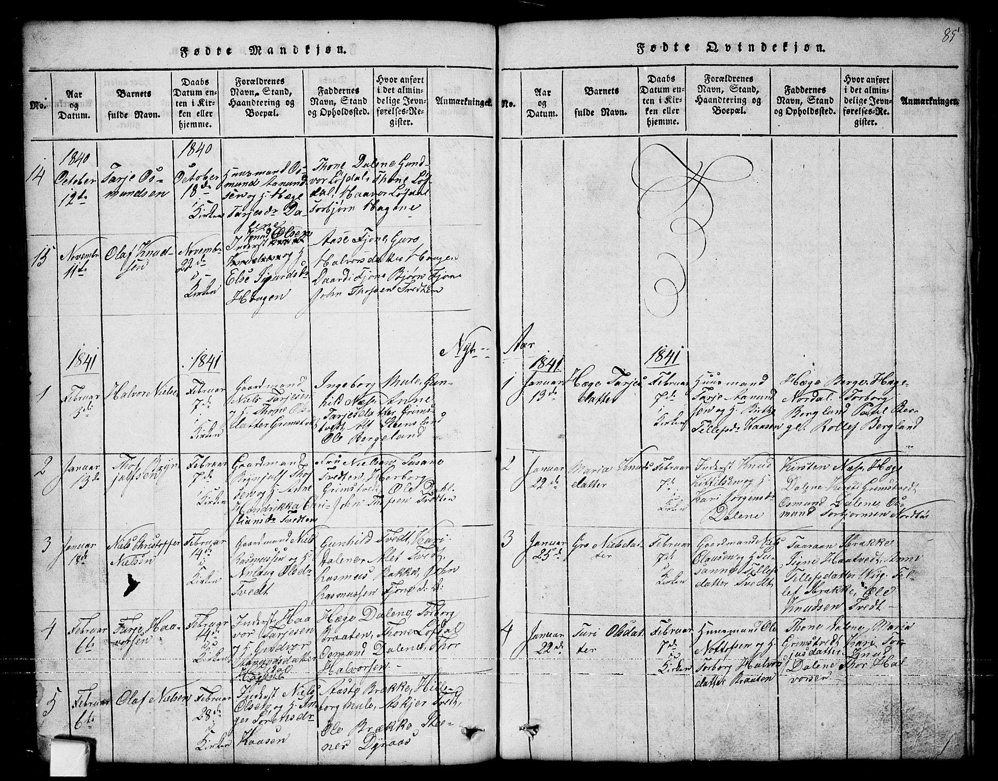 SAKO, Nissedal kirkebøker, G/Ga/L0001: Klokkerbok nr. I 1, 1814-1860, s. 85