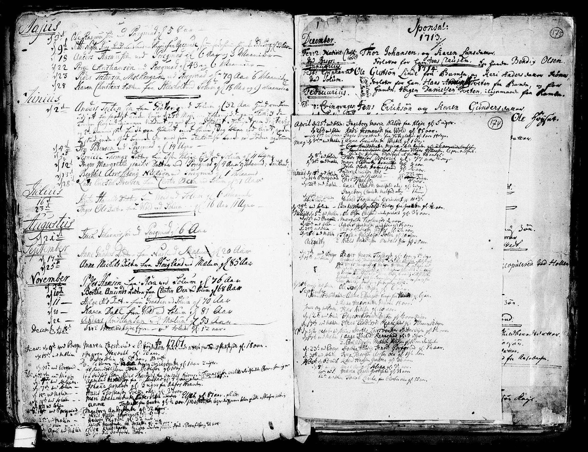 SAKO, Solum kirkebøker, F/Fa/L0002: Ministerialbok nr. I 2, 1713-1761, s. 174
