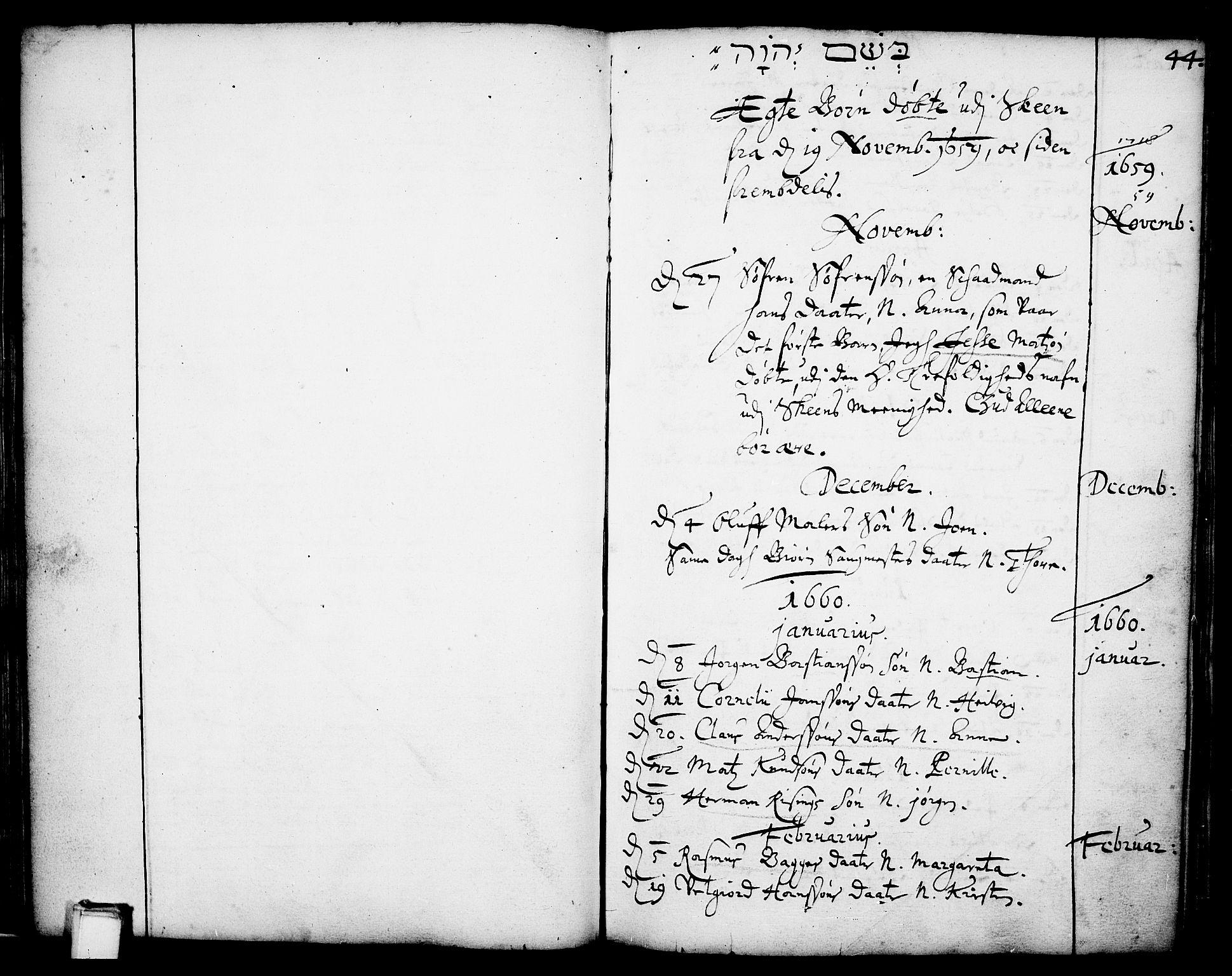 SAKO, Skien kirkebøker, F/Fa/L0001: Ministerialbok nr. 1, 1659-1679, s. 44