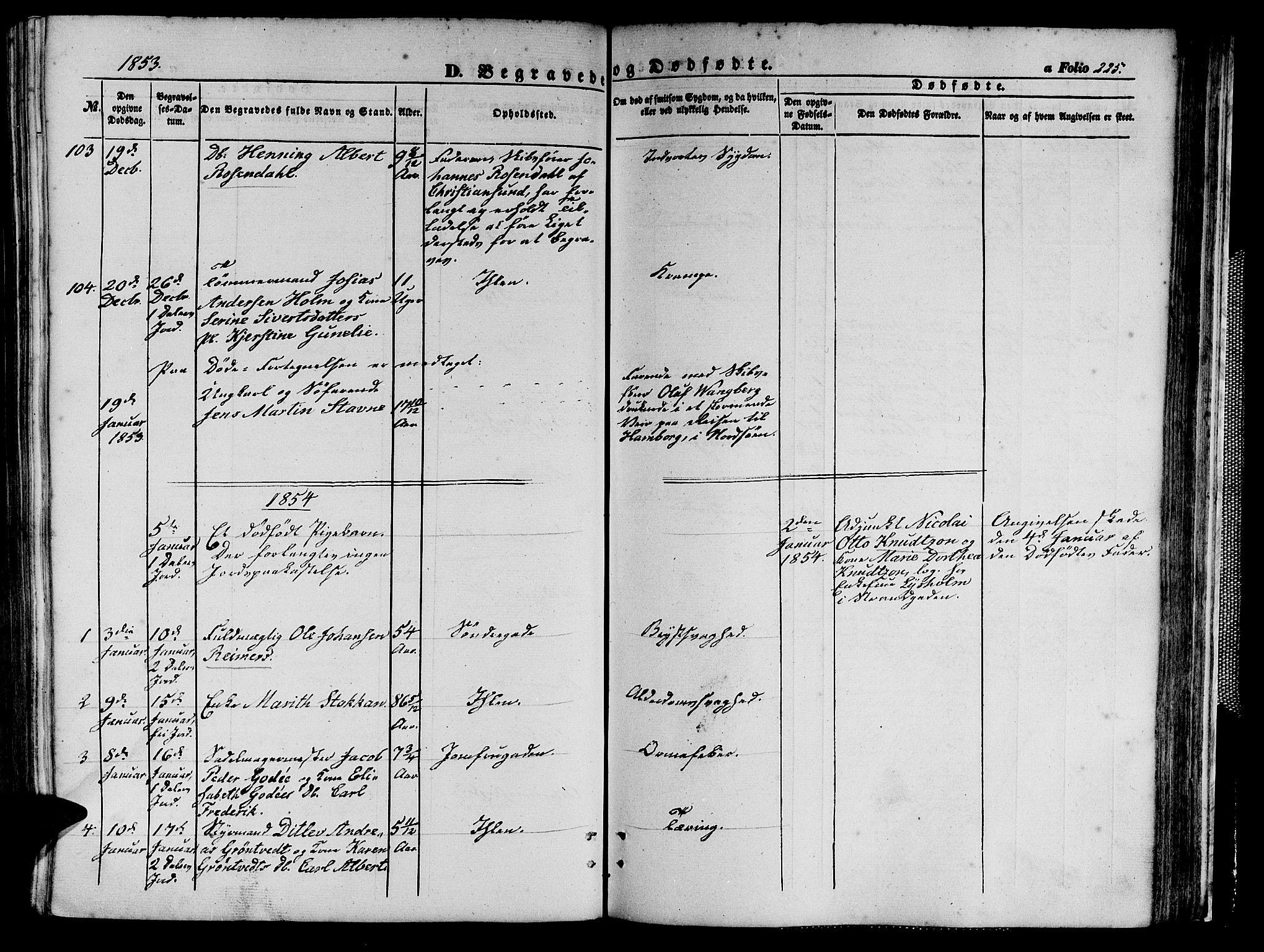 SAT, Ministerialprotokoller, klokkerbøker og fødselsregistre - Sør-Trøndelag, 602/L0138: Klokkerbok nr. 602C06, 1853-1858, s. 225