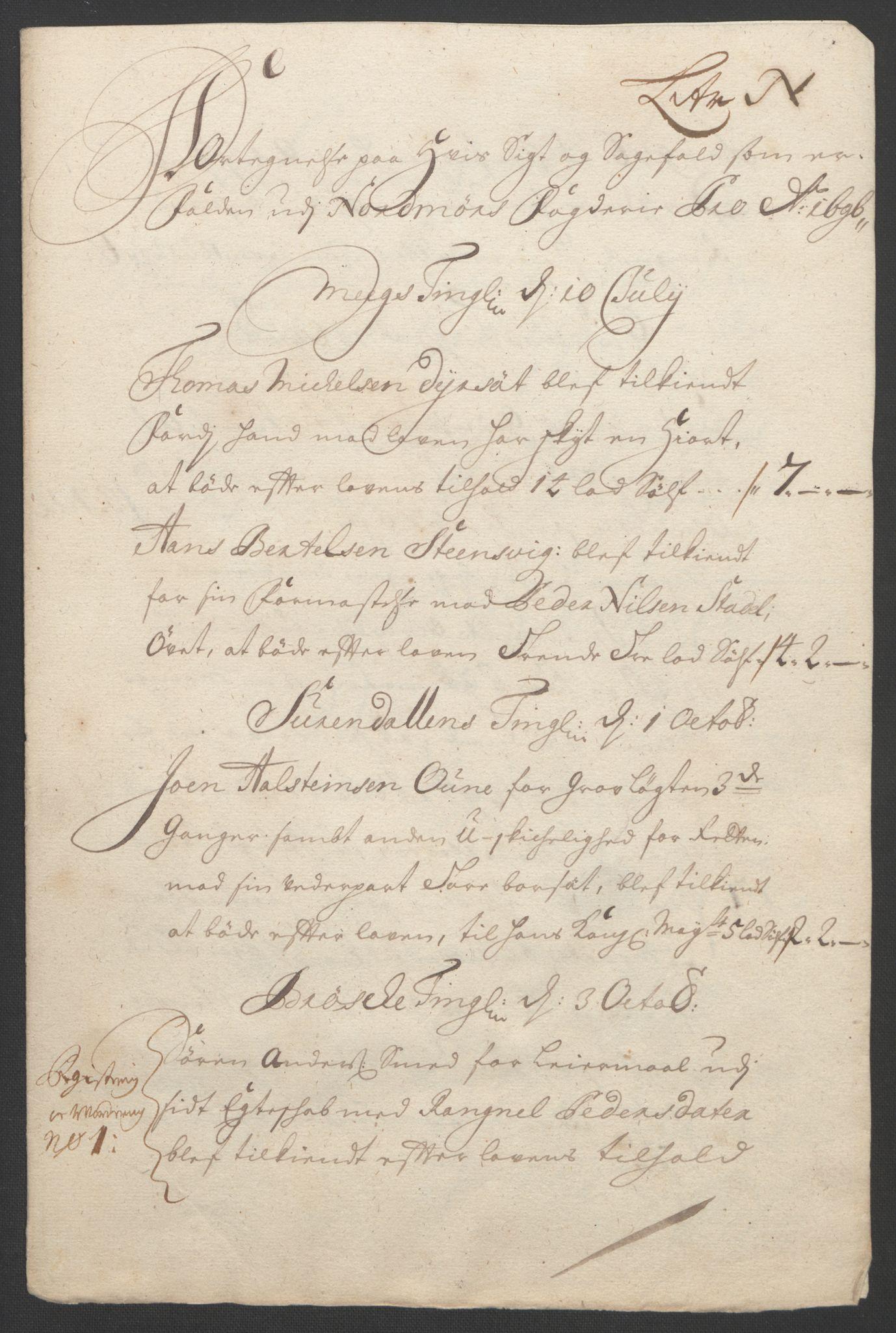 RA, Rentekammeret inntil 1814, Reviderte regnskaper, Fogderegnskap, R56/L3736: Fogderegnskap Nordmøre, 1694-1696, s. 439