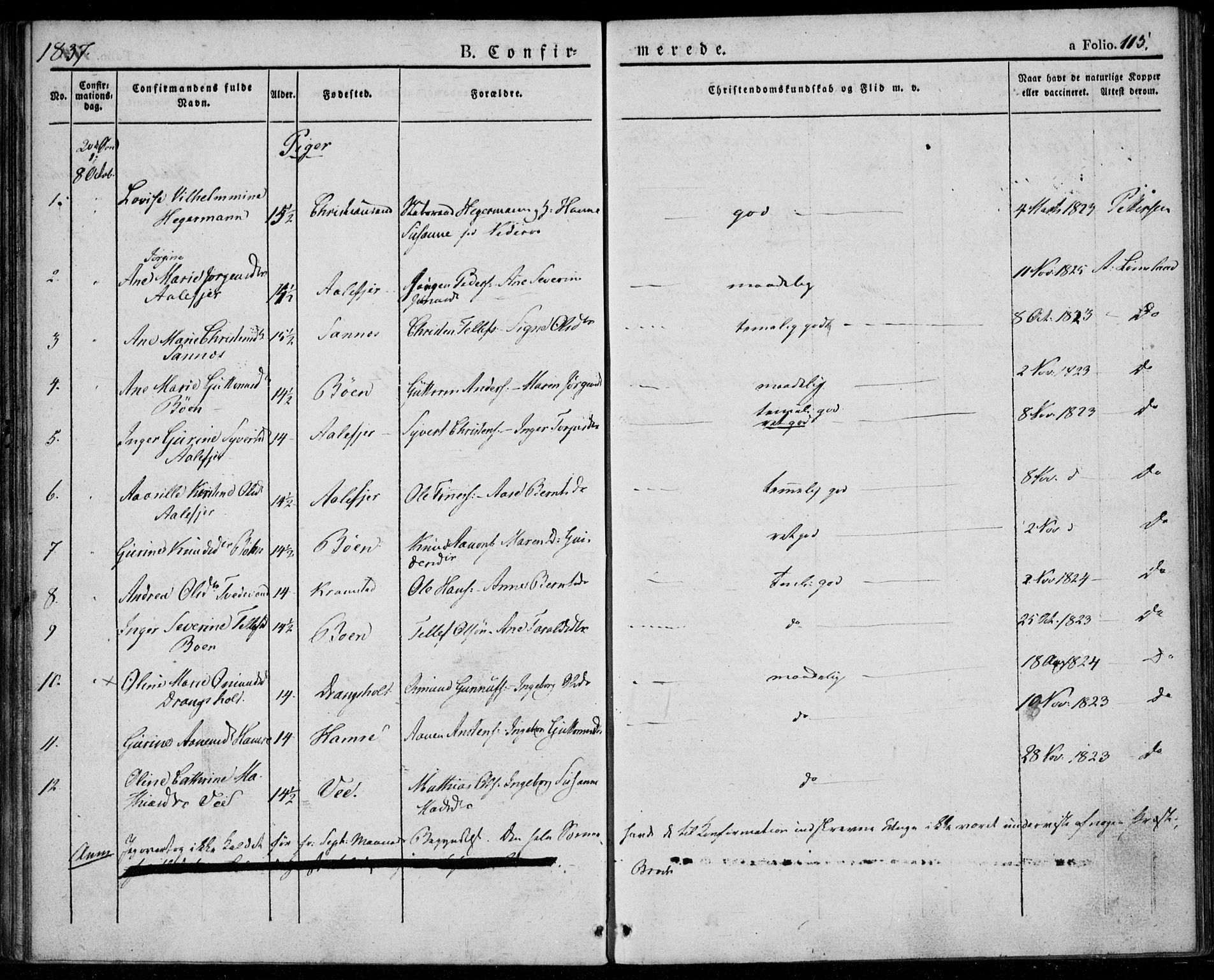 SAK, Tveit sokneprestkontor, F/Fa/L0003: Ministerialbok nr. A 3, 1829-1852, s. 115