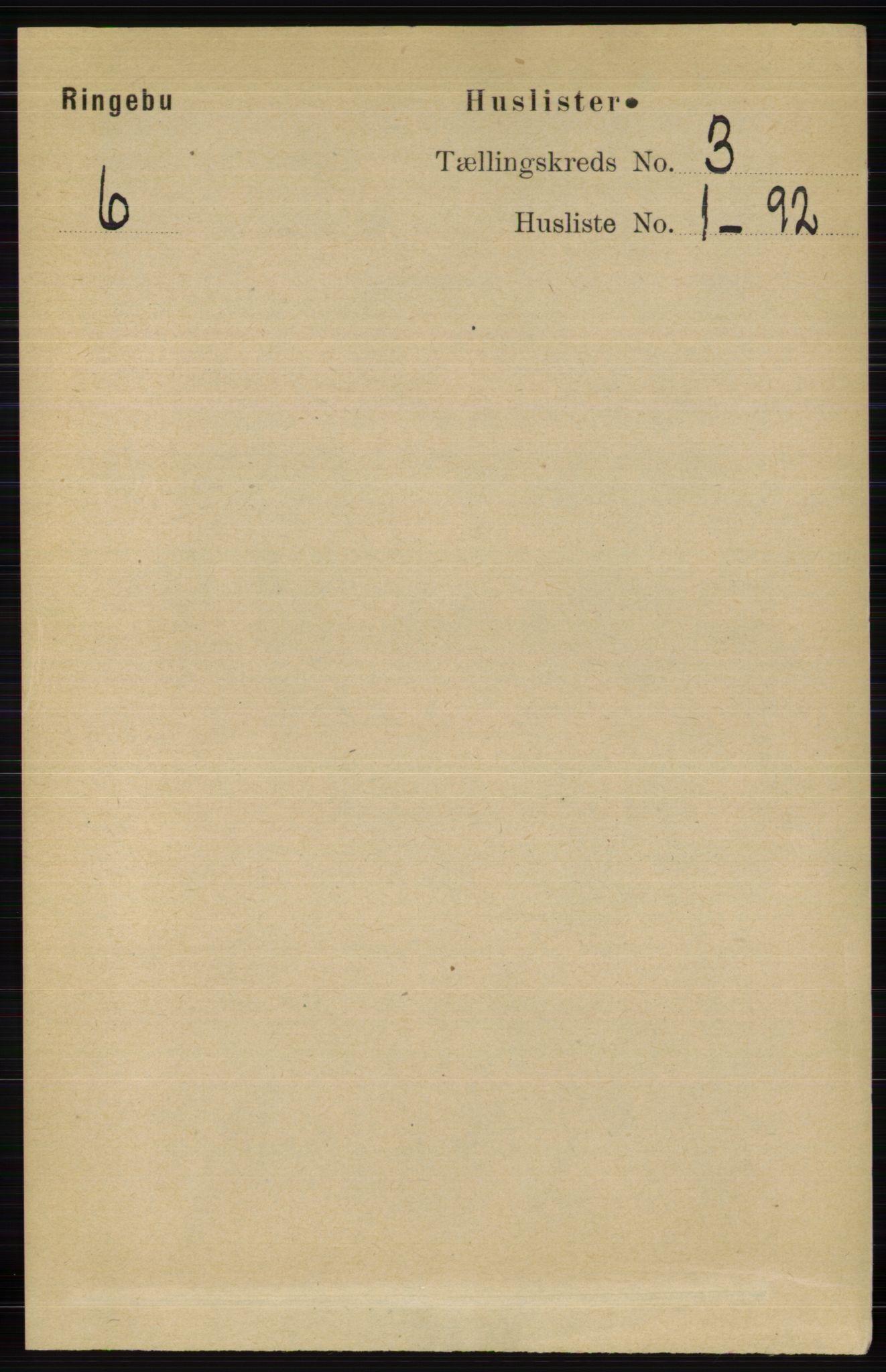 RA, Folketelling 1891 for 0520 Ringebu herred, 1891, s. 626