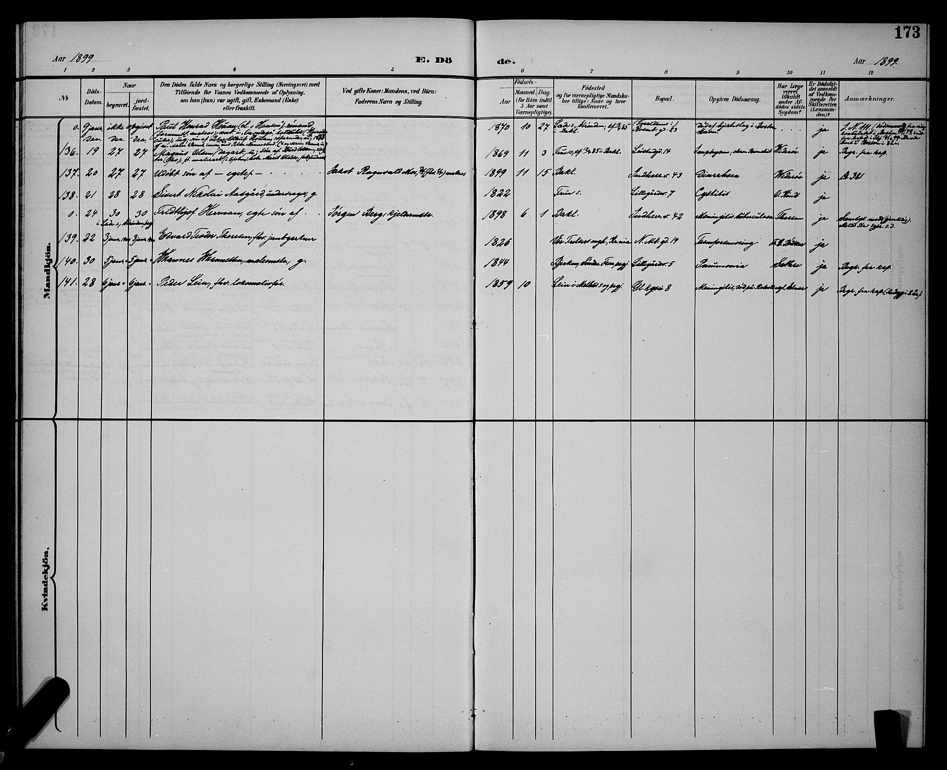 SAT, Ministerialprotokoller, klokkerbøker og fødselsregistre - Sør-Trøndelag, 604/L0226: Klokkerbok nr. 604C09, 1897-1900, s. 173