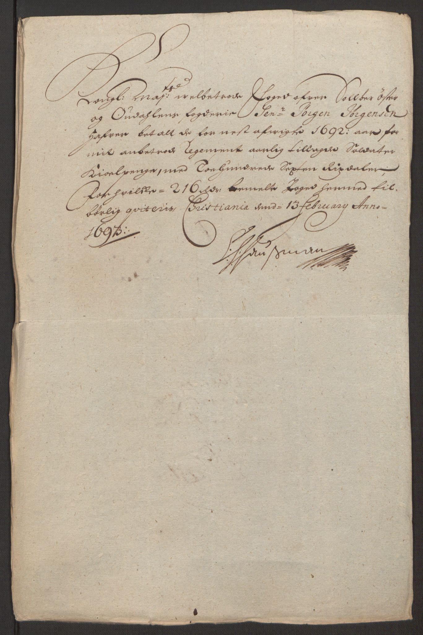 RA, Rentekammeret inntil 1814, Reviderte regnskaper, Fogderegnskap, R13/L0830: Fogderegnskap Solør, Odal og Østerdal, 1692, s. 436