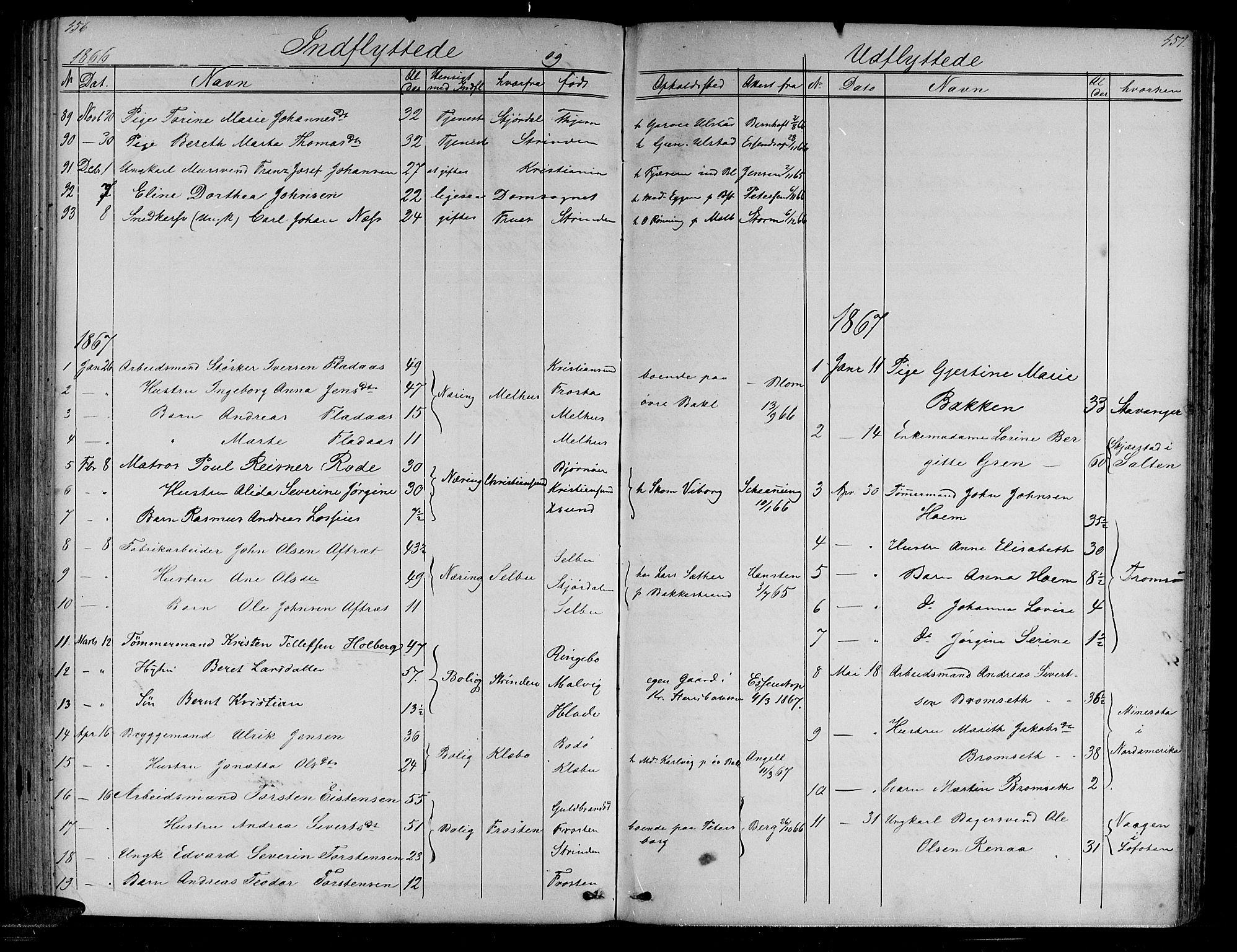 SAT, Ministerialprotokoller, klokkerbøker og fødselsregistre - Sør-Trøndelag, 604/L0219: Klokkerbok nr. 604C02, 1851-1869, s. 456-457
