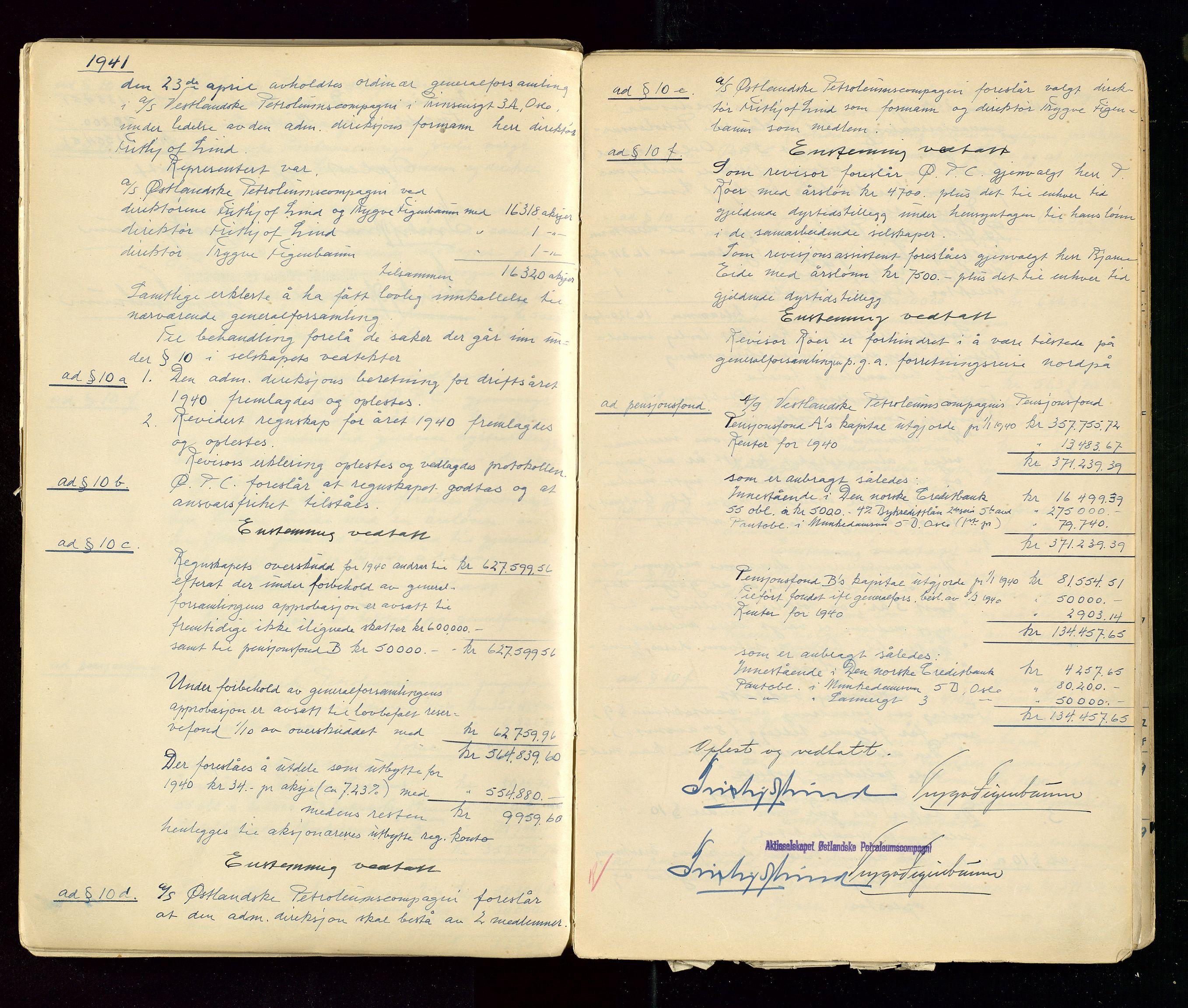 SAST, PA 1533 - A/S Vestlandske Petroleumscompani, A/Aa/L0001: Generalforsamlinger og styreprotokoller, 1890-1953, s. 129
