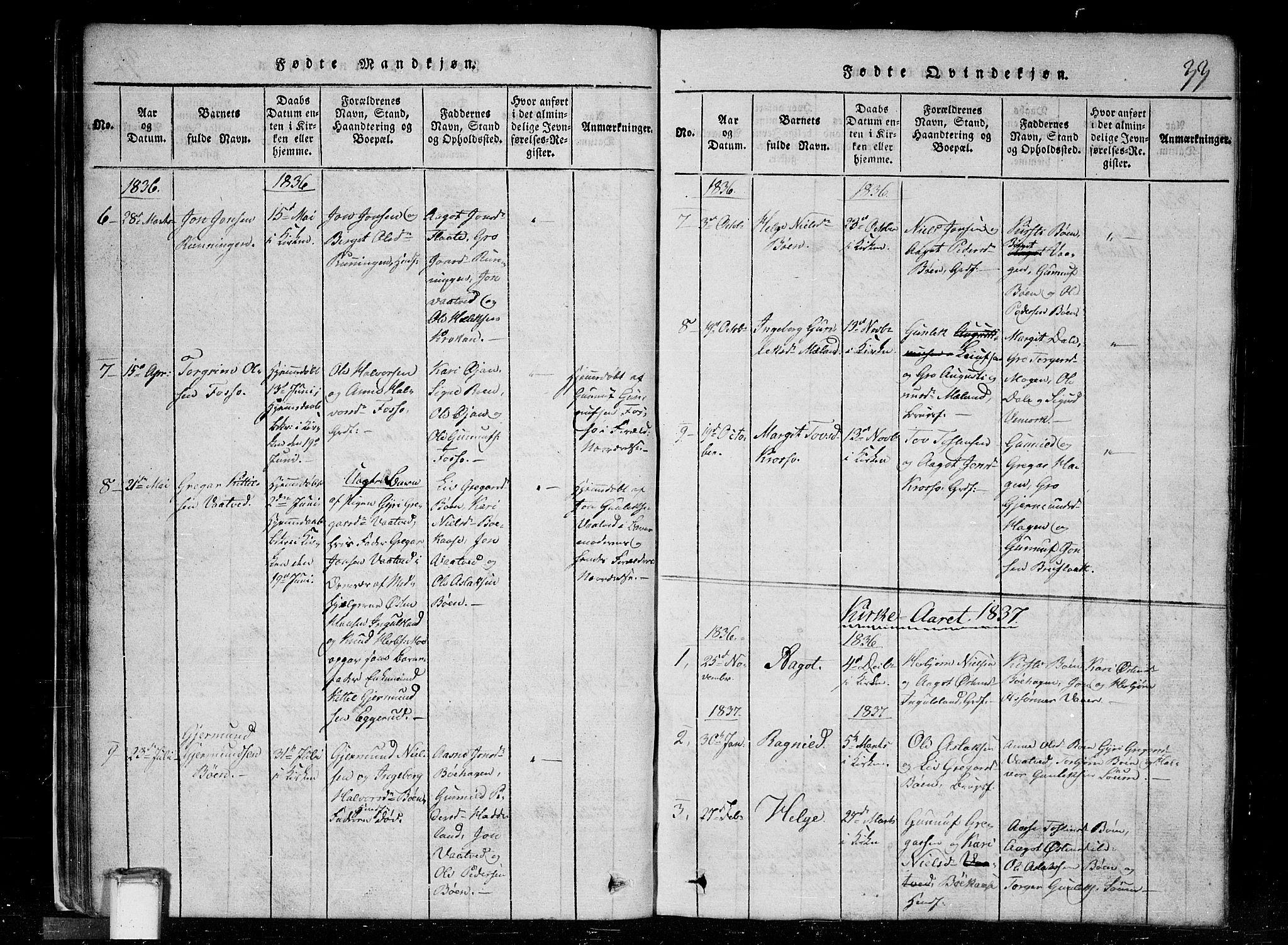 SAKO, Tinn kirkebøker, G/Gc/L0001: Klokkerbok nr. III 1, 1815-1879, s. 33
