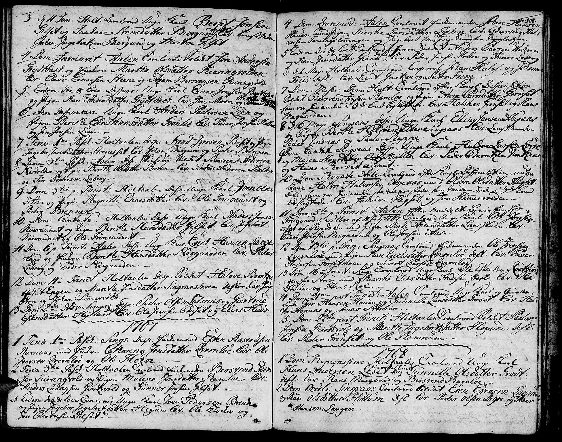 SAT, Ministerialprotokoller, klokkerbøker og fødselsregistre - Sør-Trøndelag, 685/L0952: Ministerialbok nr. 685A01, 1745-1804, s. 108