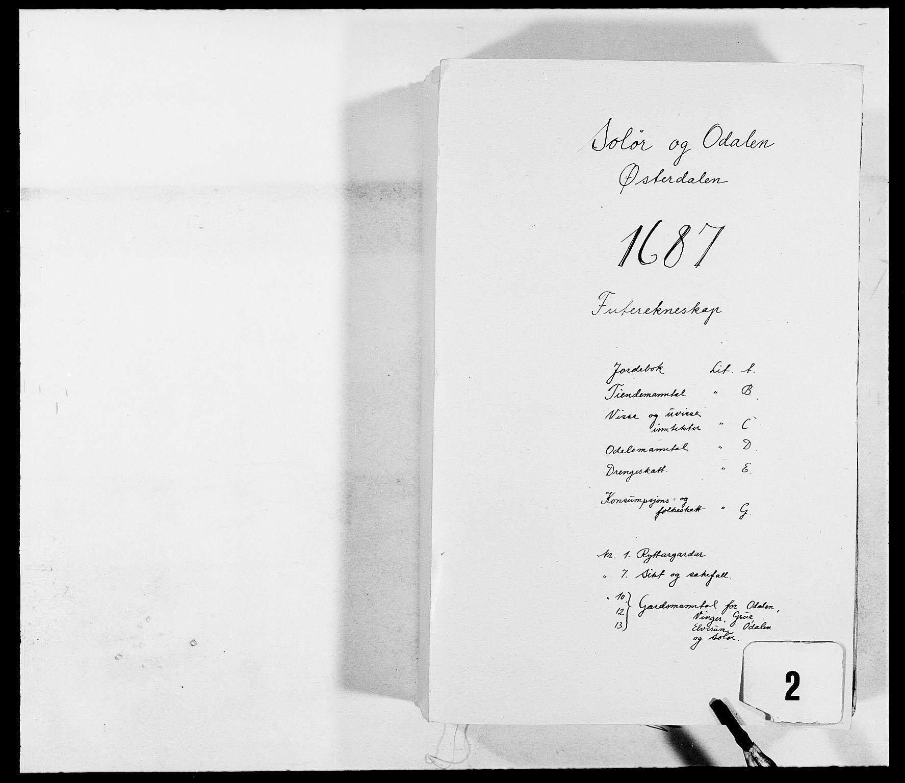 RA, Rentekammeret inntil 1814, Reviderte regnskaper, Fogderegnskap, R13/L0824: Fogderegnskap Solør, Odal og Østerdal, 1687, s. 1