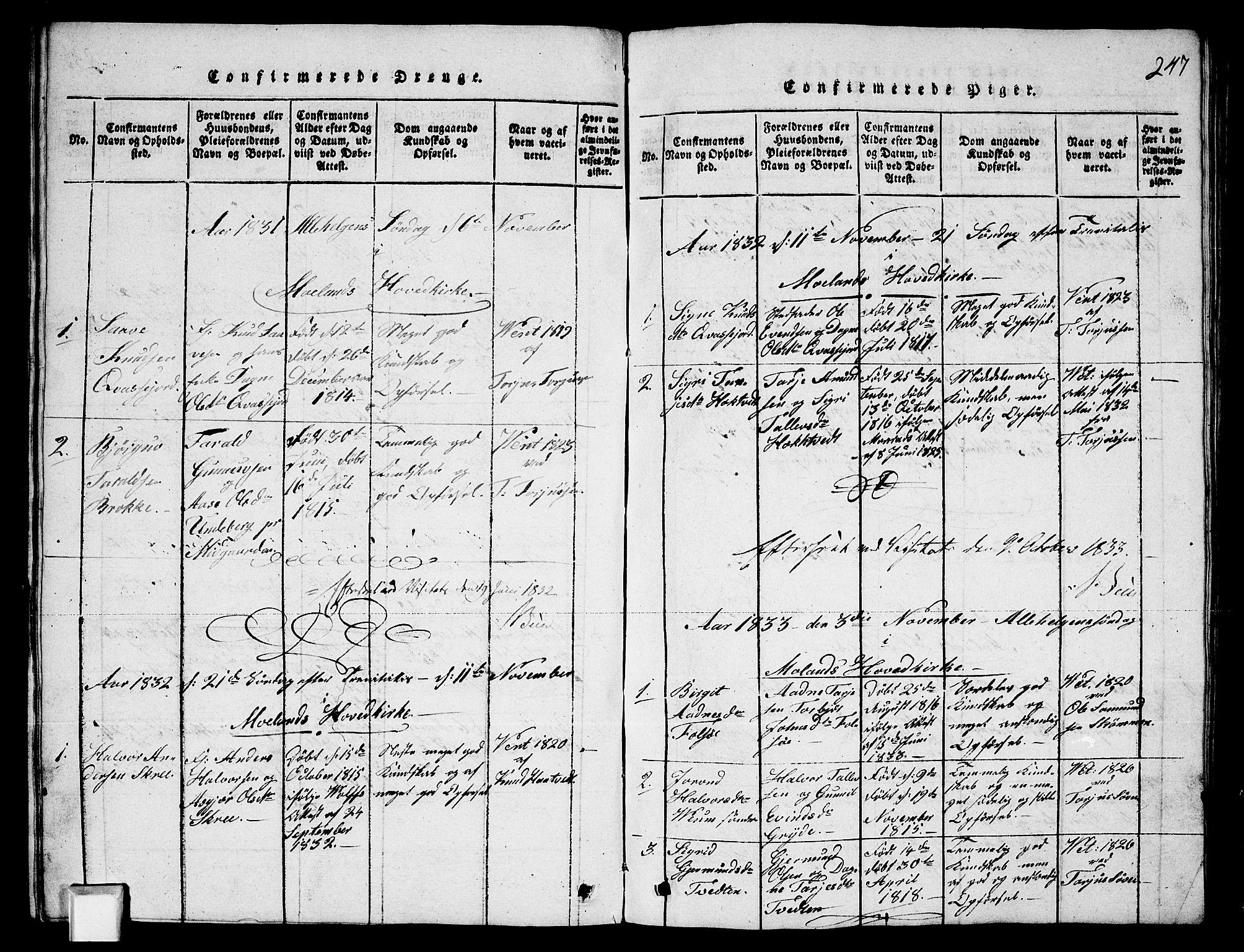 SAKO, Fyresdal kirkebøker, G/Ga/L0003: Klokkerbok nr. I 3, 1815-1863, s. 247