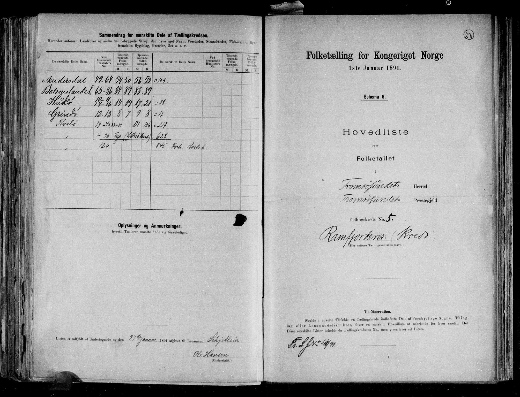 RA, Folketelling 1891 for 1934 Tromsøysund herred, 1891, s. 13