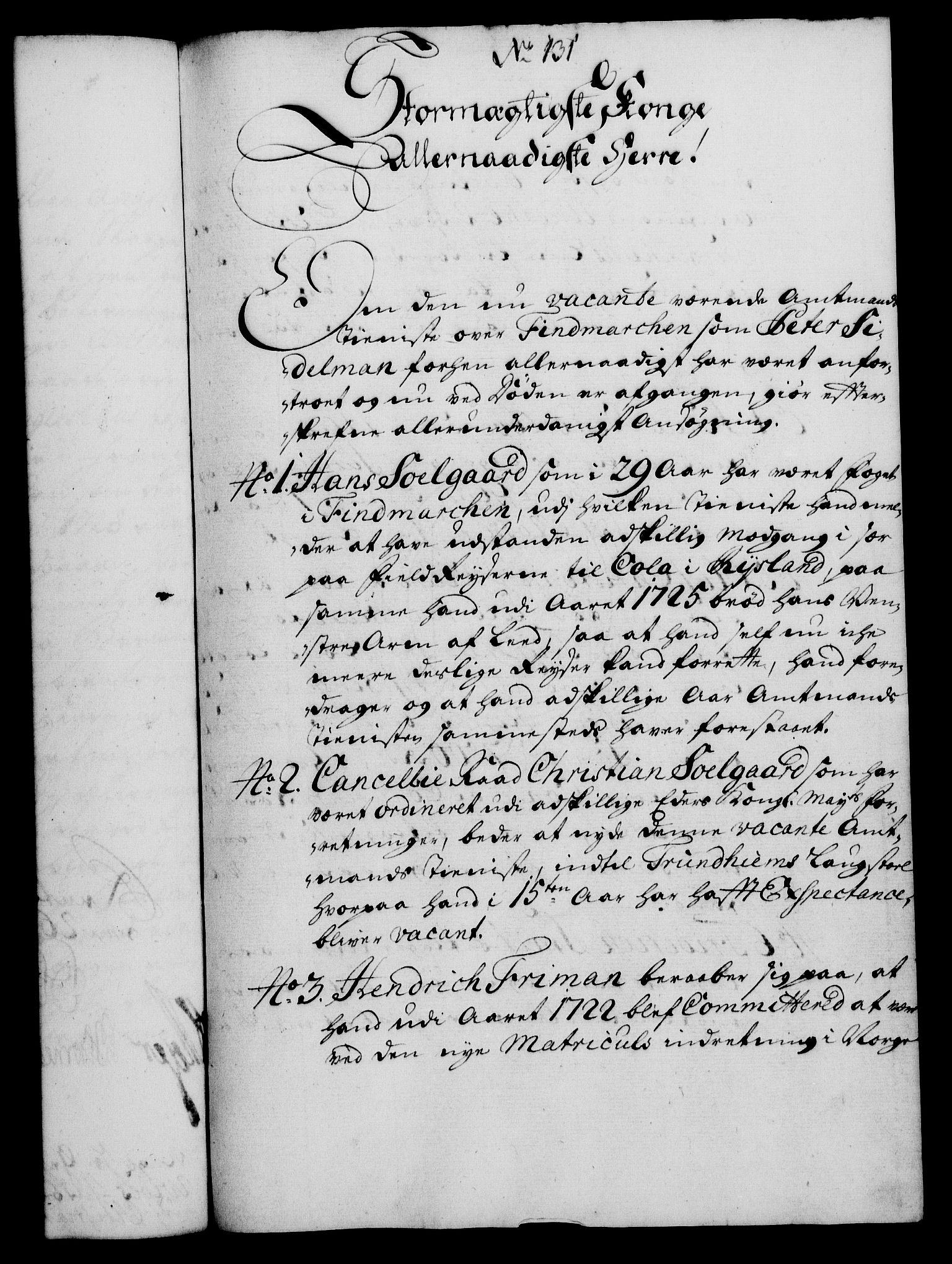 RA, Rentekammeret, Kammerkanselliet, G/Gf/Gfa/L0012: Norsk relasjons- og resolusjonsprotokoll (merket RK 52.12), 1729, s. 707