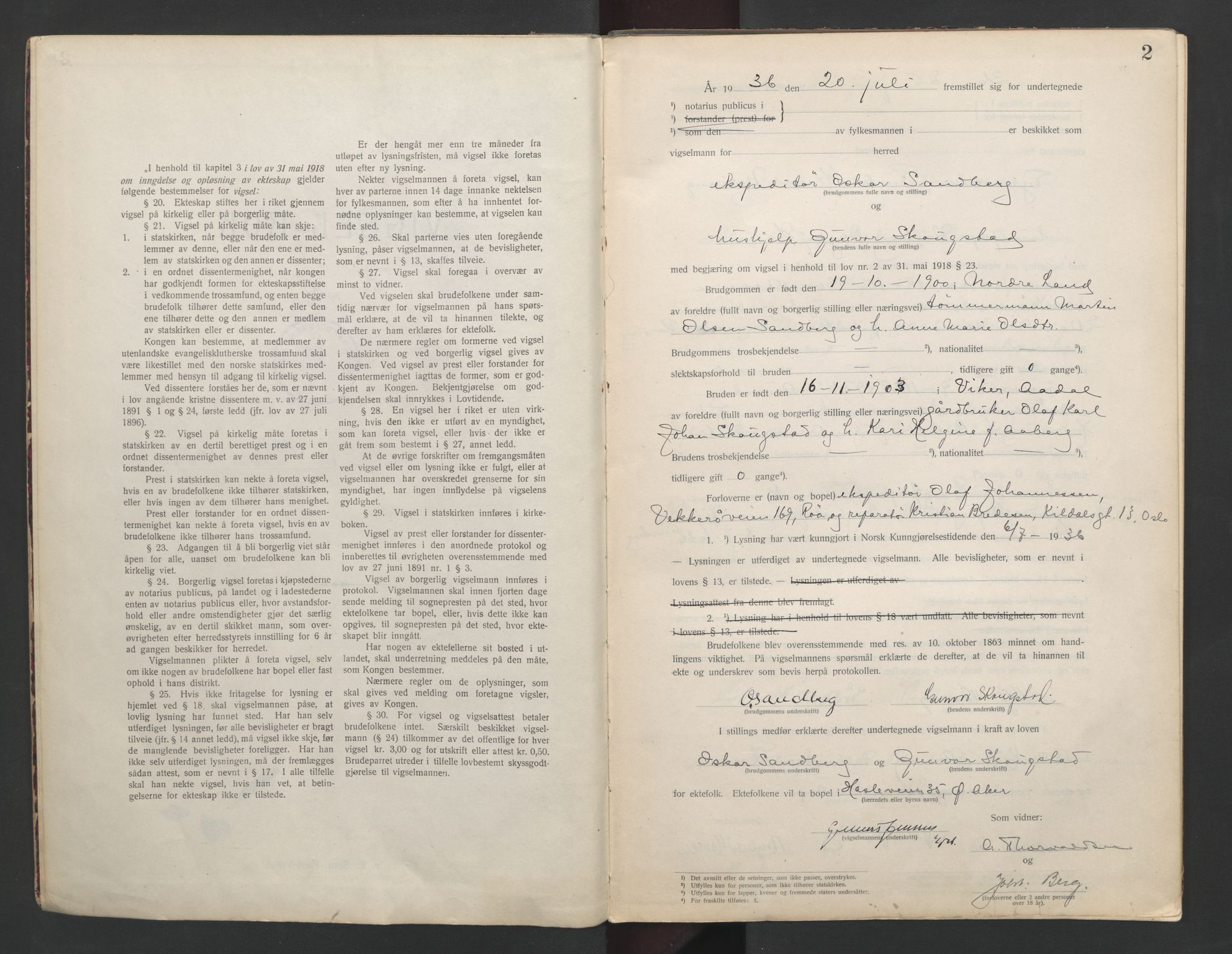 SAO, Aker sorenskriveri, L/Lc/Lcb/L0009: Vigselprotokoll, 1936-1937, s. 2