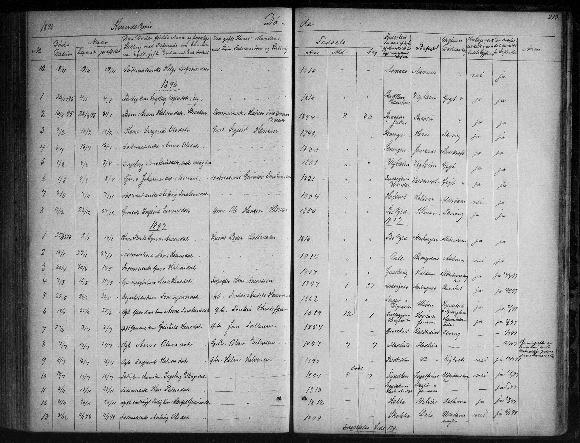 SAKO, Sauherad kirkebøker, G/Ga/L0003: Klokkerbok nr. I 3, 1866-1905, s. 213