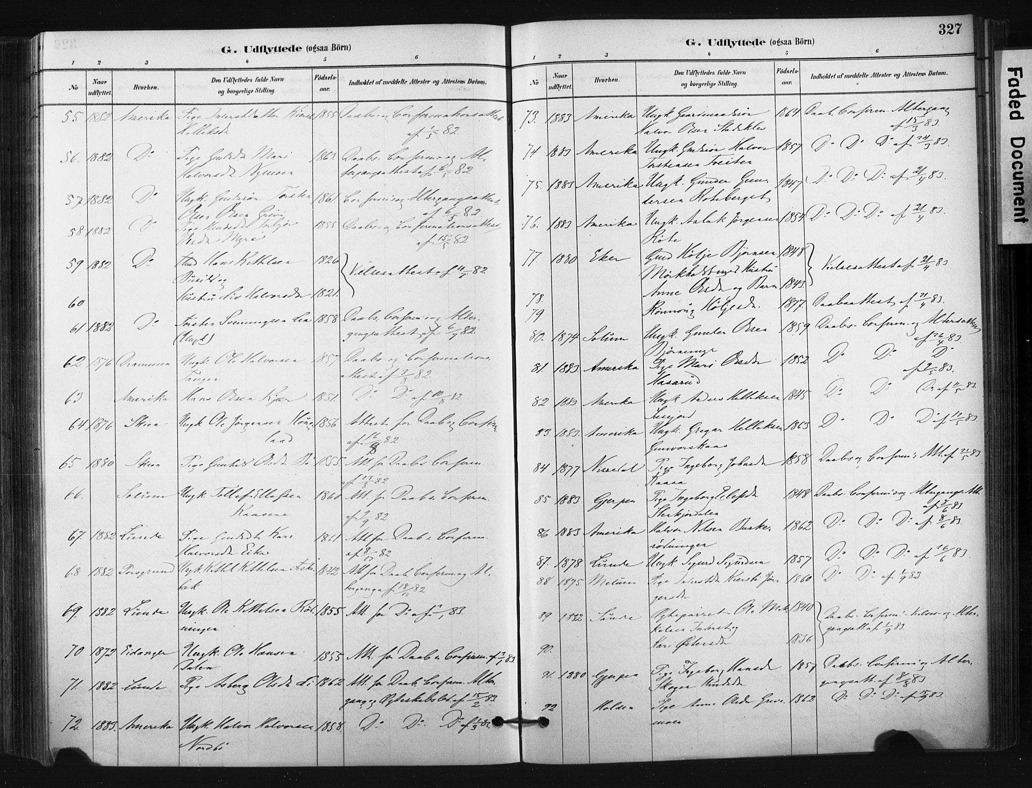 SAKO, Bø kirkebøker, F/Fa/L0010: Ministerialbok nr. 10, 1880-1892, s. 327