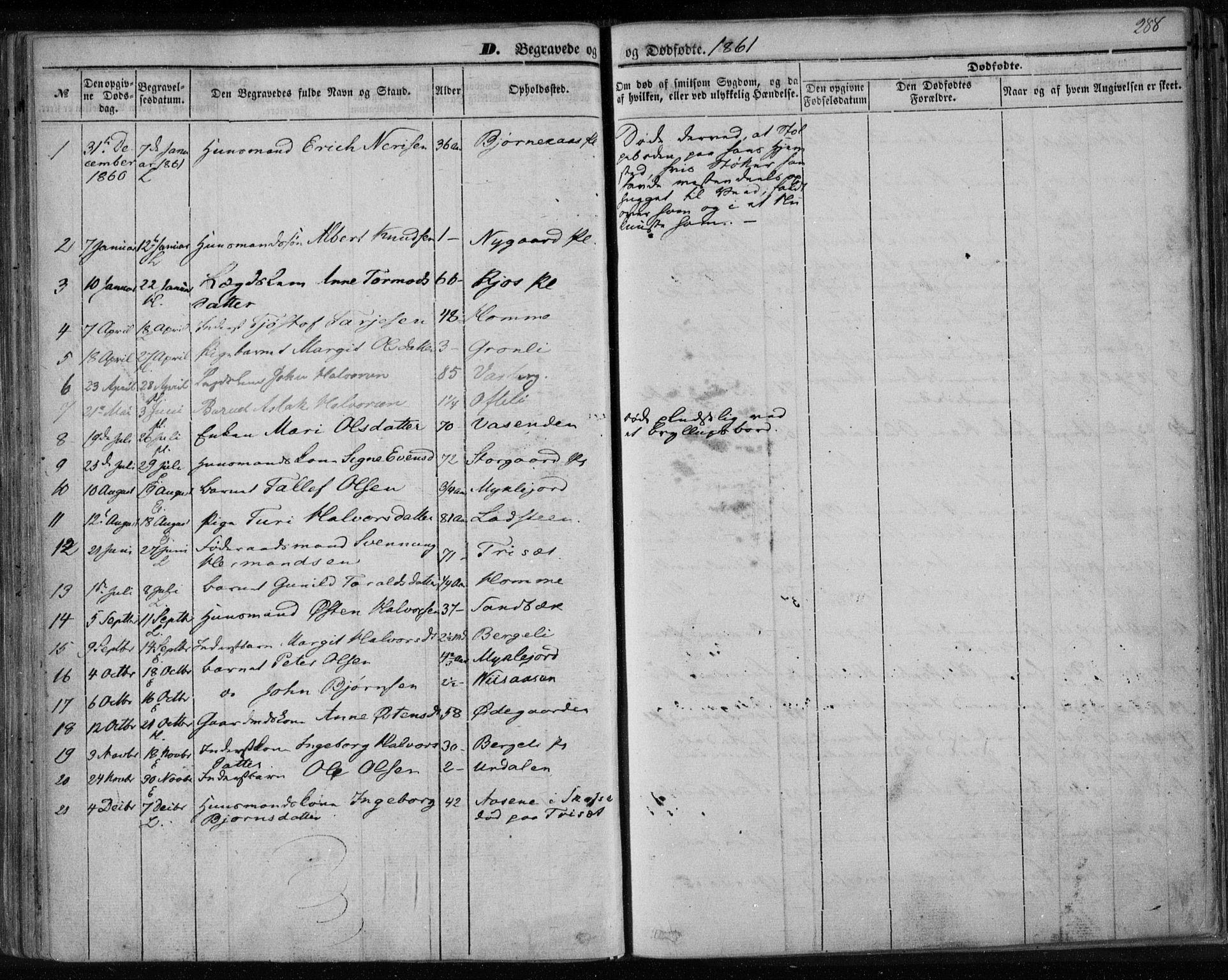 SAKO, Lårdal kirkebøker, F/Fa/L0006: Ministerialbok nr. I 6, 1861-1886, s. 288
