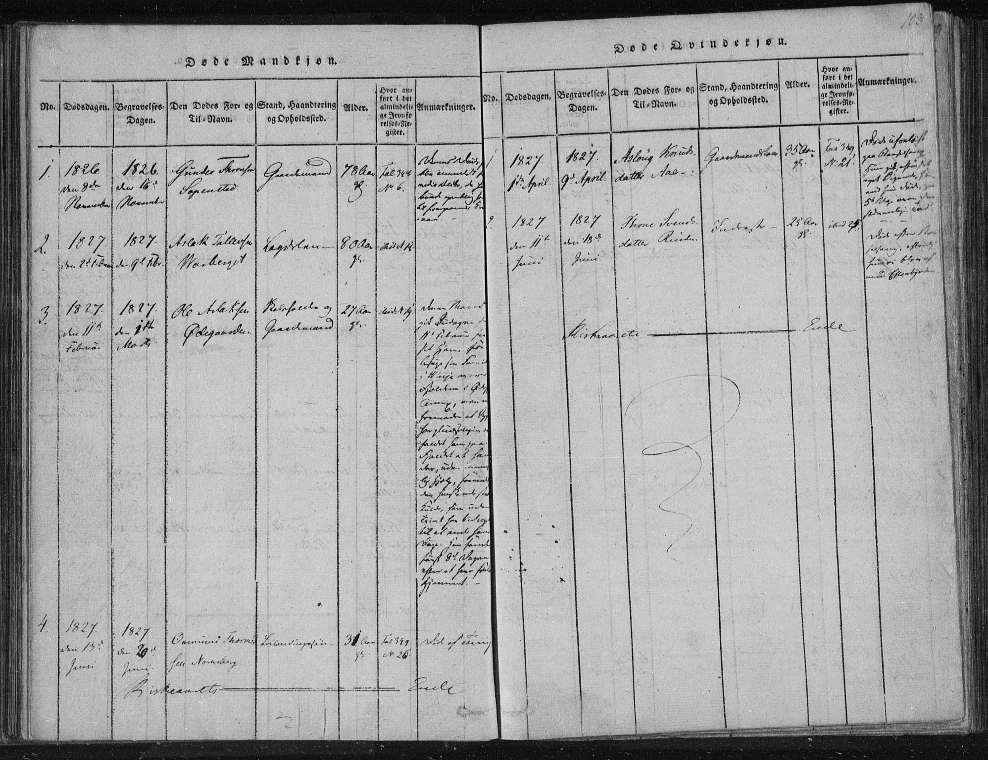 SAKO, Lårdal kirkebøker, F/Fc/L0001: Ministerialbok nr. III 1, 1815-1860, s. 103