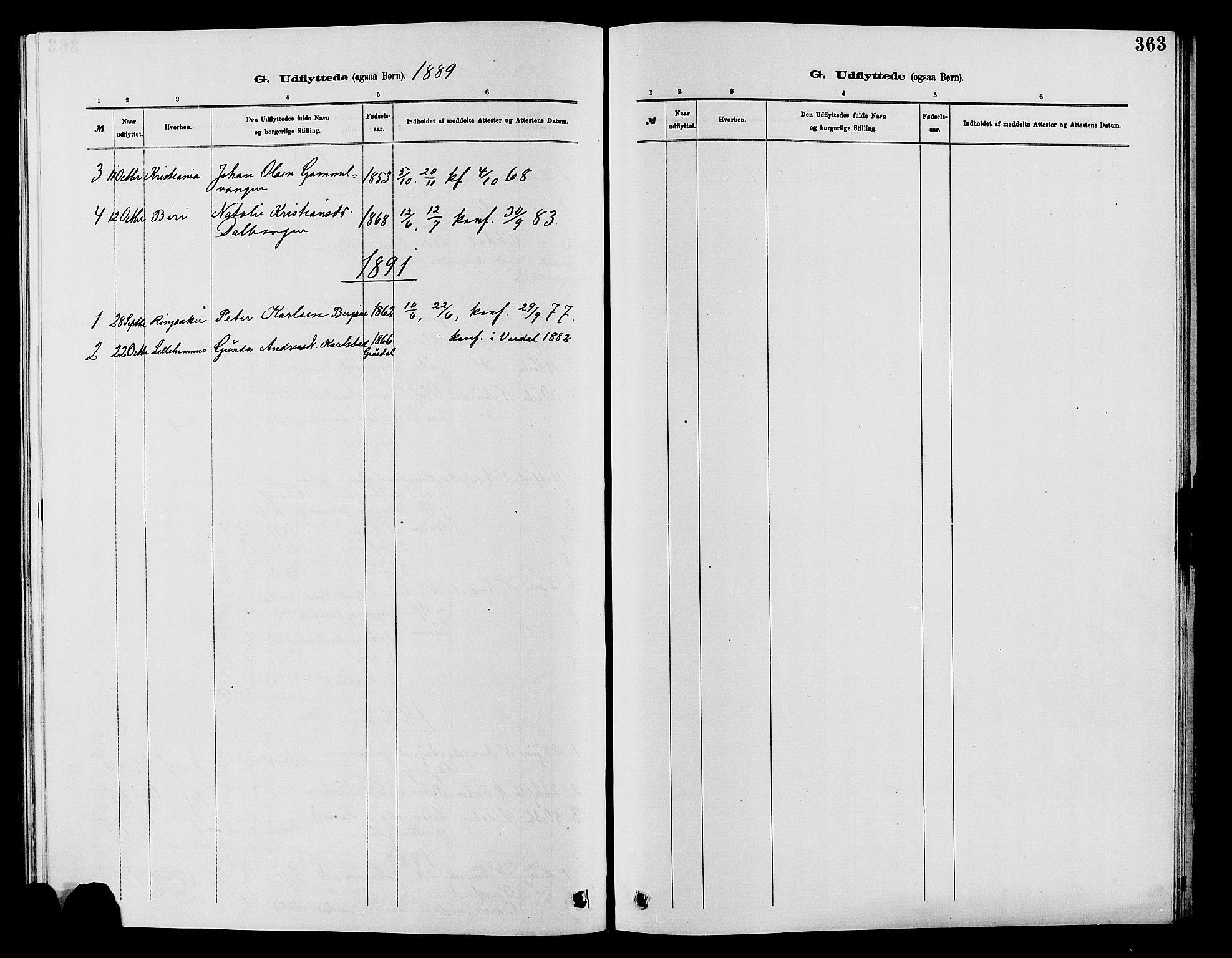 SAH, Vardal prestekontor, H/Ha/Hab/L0007: Klokkerbok nr. 7 /1, 1881-1895, s. 363