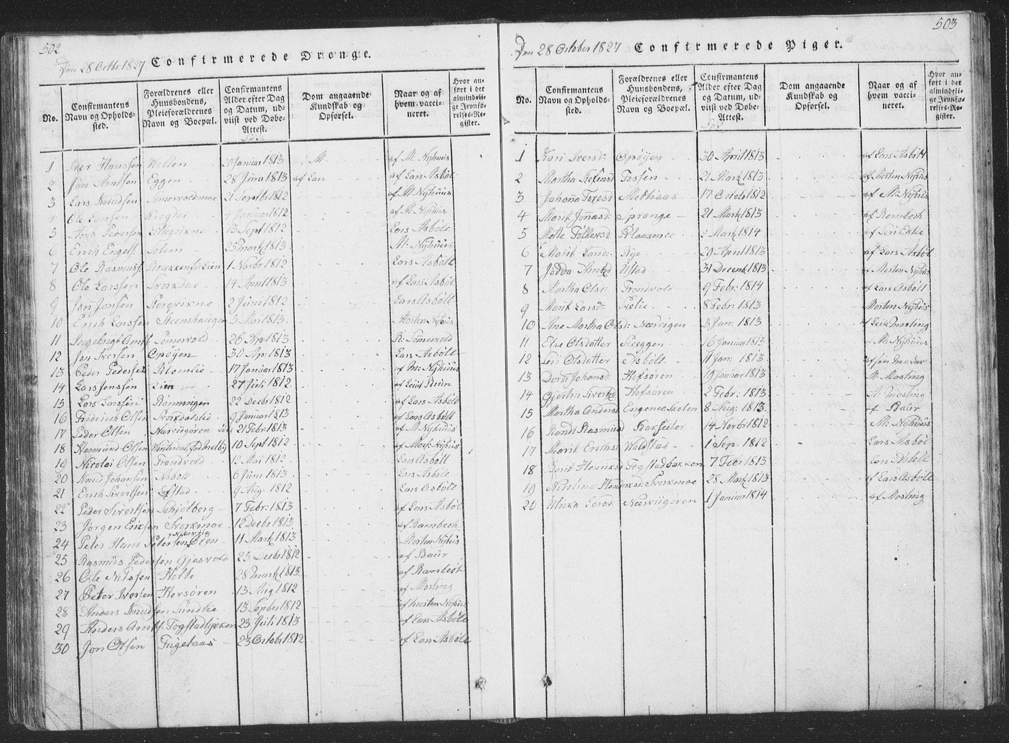 SAT, Ministerialprotokoller, klokkerbøker og fødselsregistre - Sør-Trøndelag, 668/L0816: Klokkerbok nr. 668C05, 1816-1893, s. 502-503