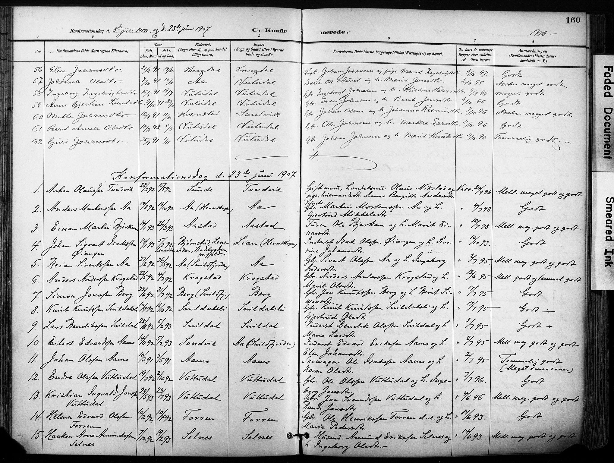 SAT, Ministerialprotokoller, klokkerbøker og fødselsregistre - Sør-Trøndelag, 630/L0497: Ministerialbok nr. 630A10, 1896-1910, s. 160