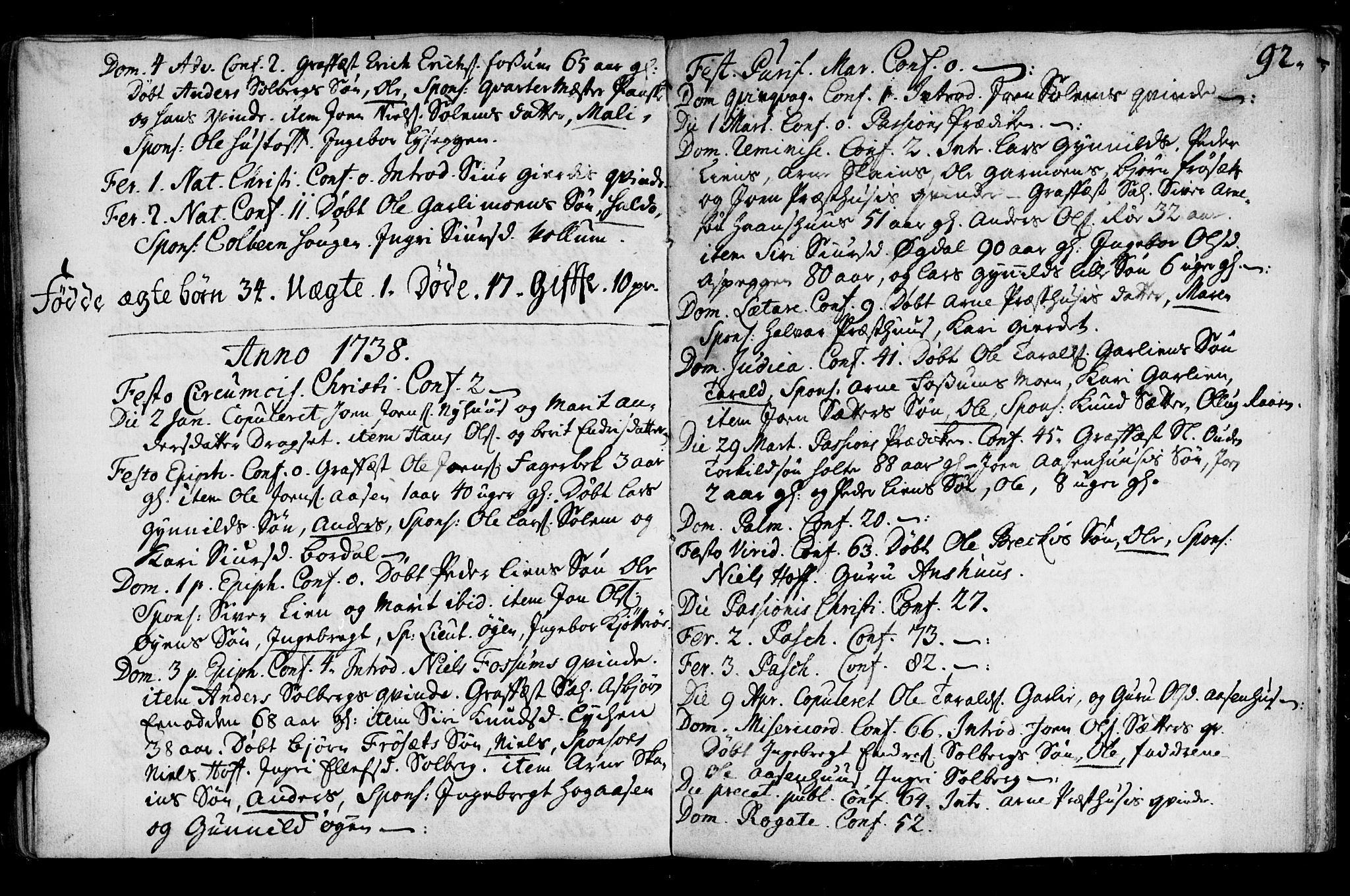 SAT, Ministerialprotokoller, klokkerbøker og fødselsregistre - Sør-Trøndelag, 689/L1036: Ministerialbok nr. 689A01, 1696-1746, s. 92