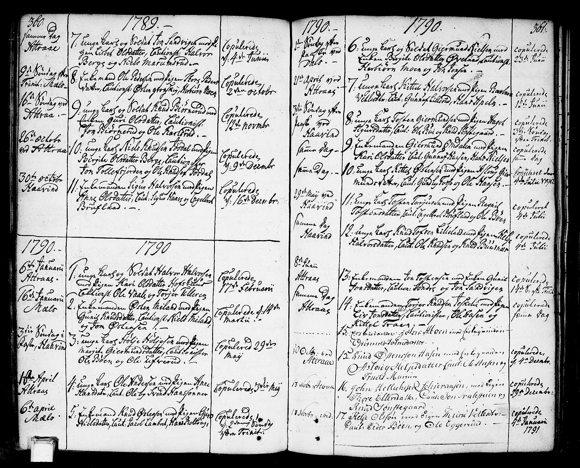 SAKO, Tinn kirkebøker, F/Fa/L0002: Ministerialbok nr. I 2, 1757-1810, s. 360-361