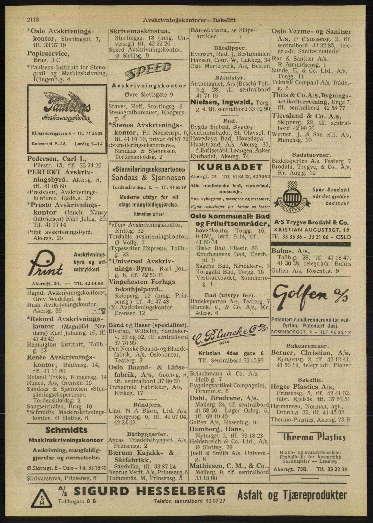RA, Oslo adressebok (publikasjon)*, 1947, s. 2118