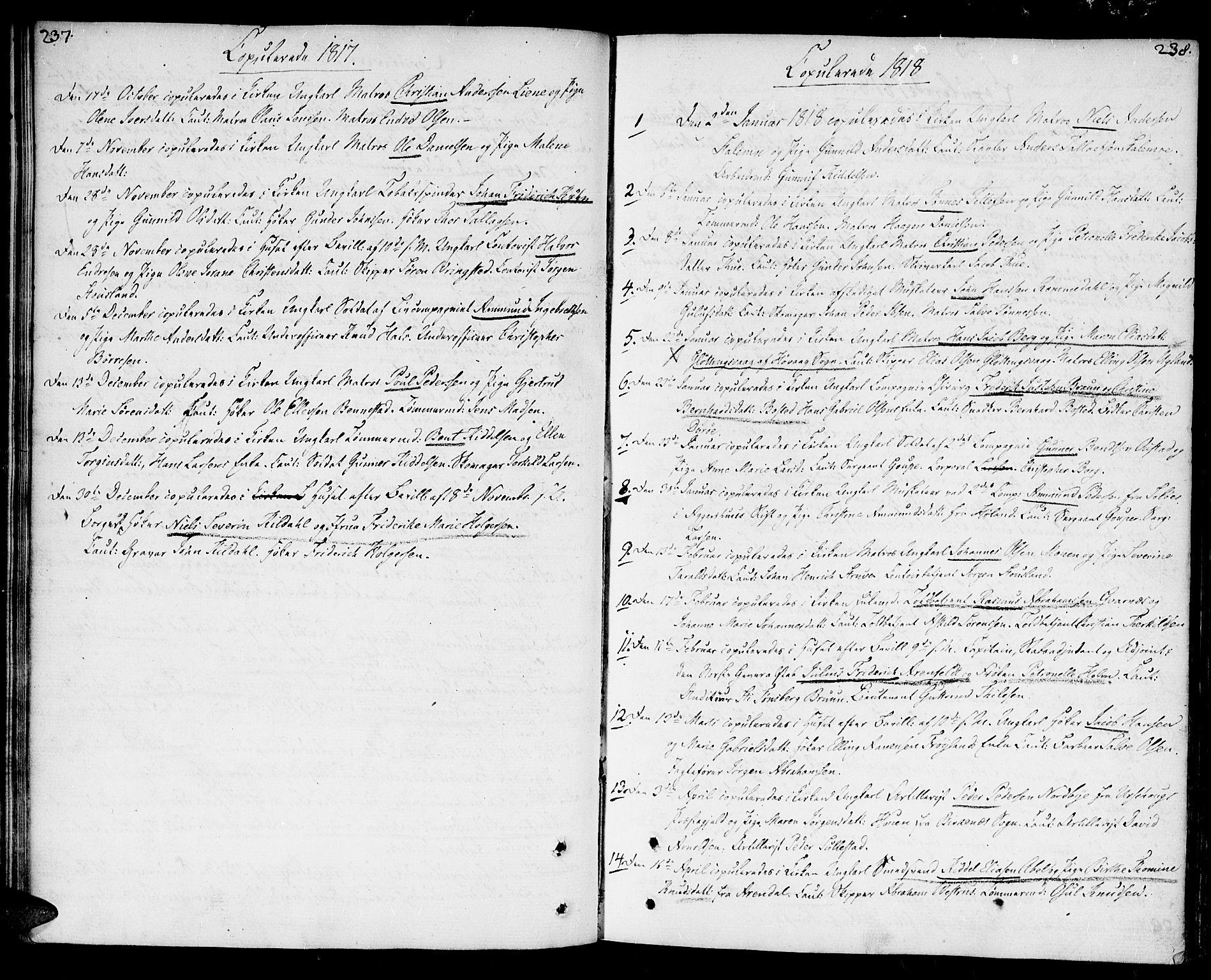 SAK, Kristiansand domprosti, F/Fa/L0005: Ministerialbok nr. A 5, 1776-1818, s. 237-238